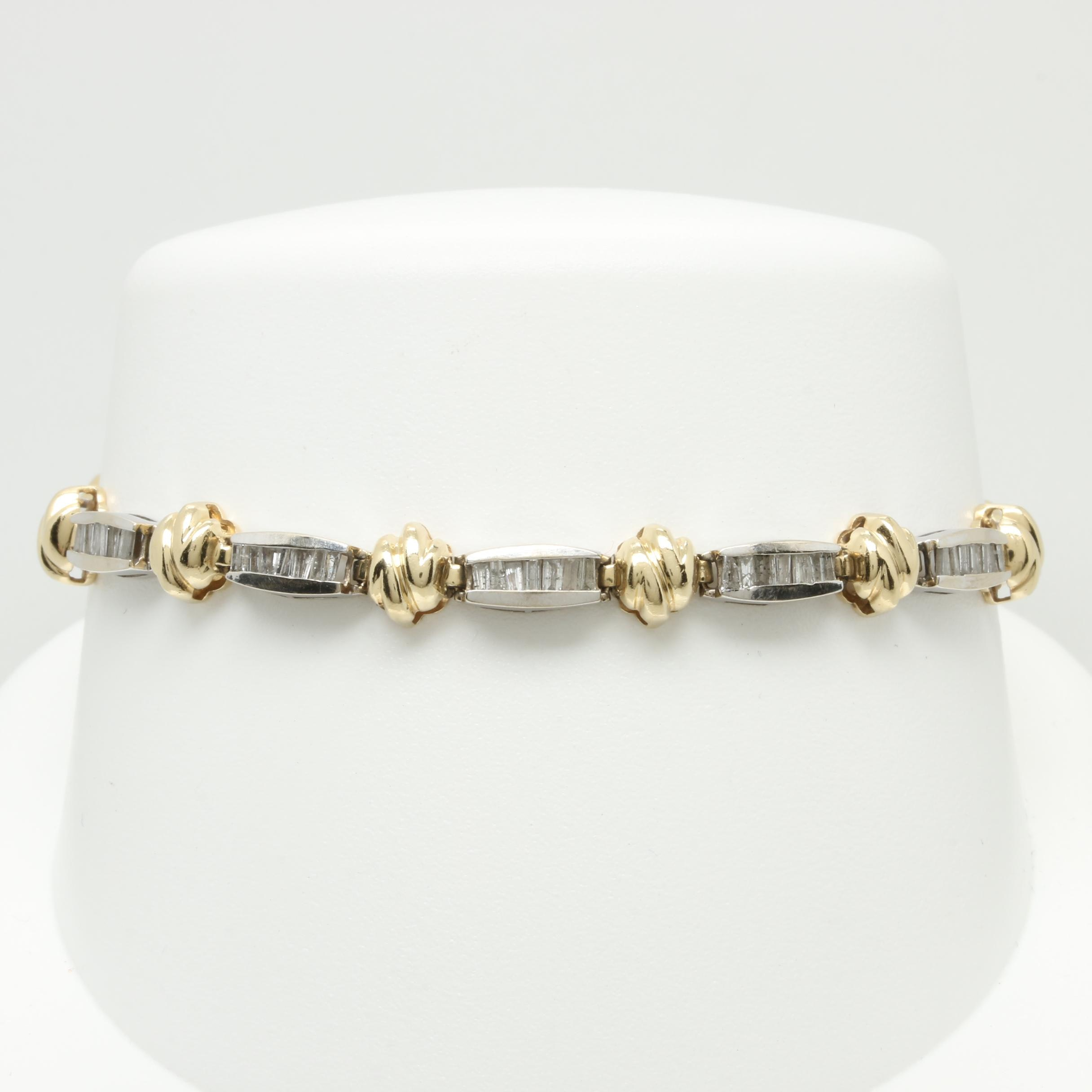 14K White and Yellow Gold 1.24 CTW Diamond Link Bracelet