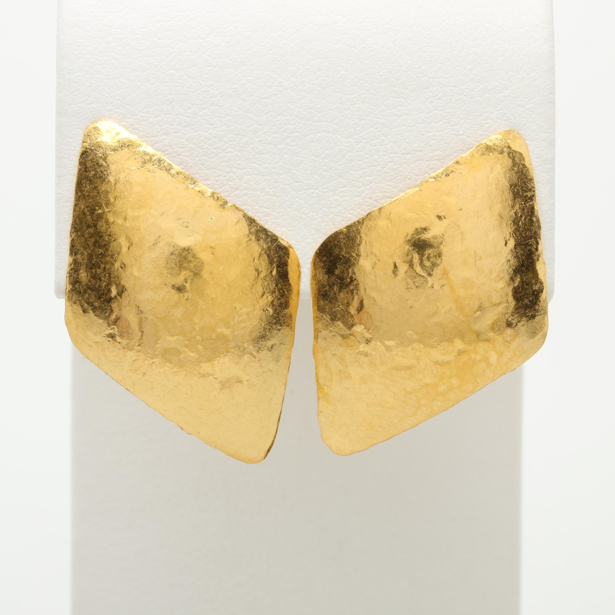 24K Yellow Gold Hammered Earrings