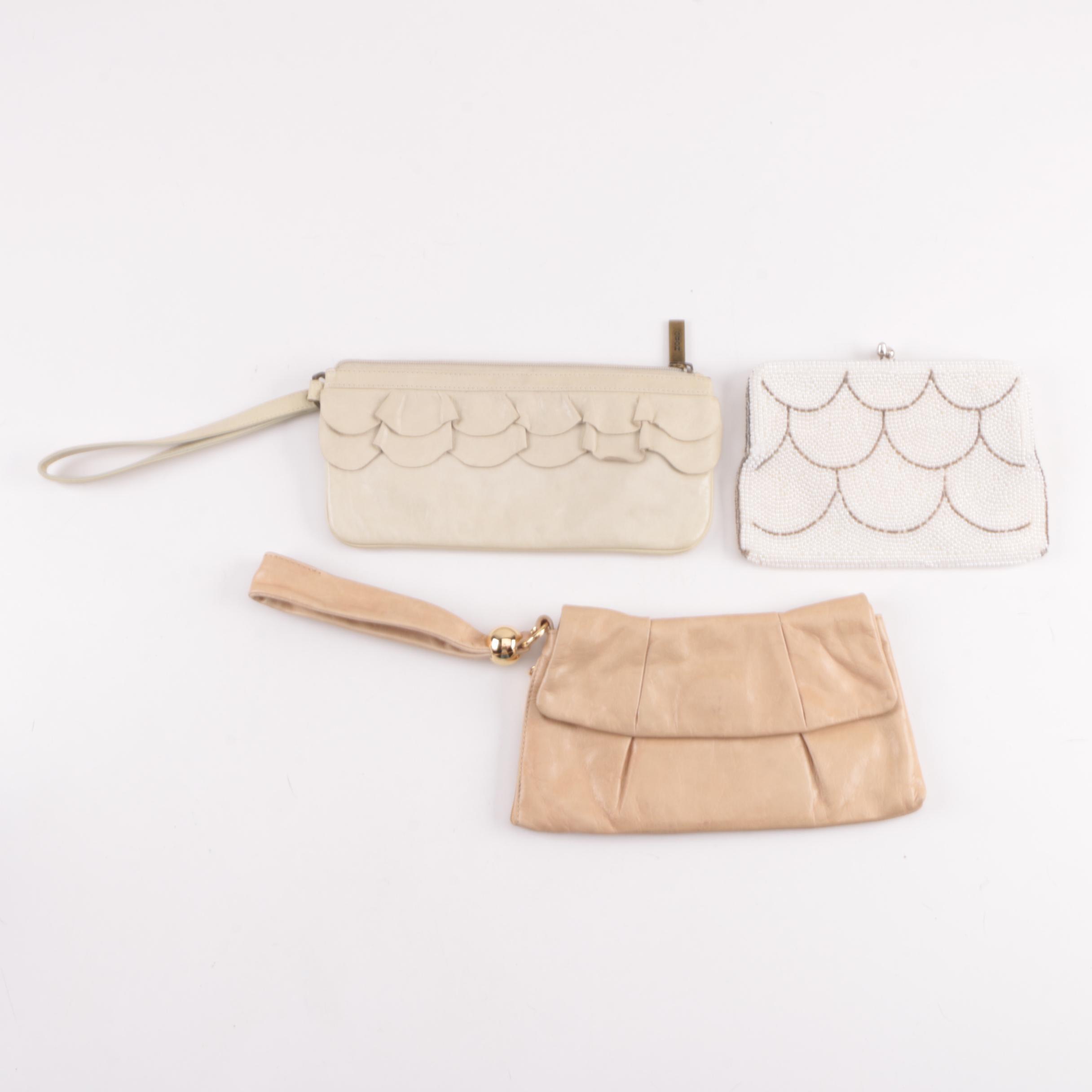 Hobo International Leather Wristlets and Vintage Beaded Frame Bag