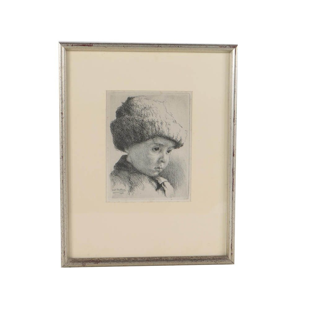 Early 20th Century Etching after A. Christensen