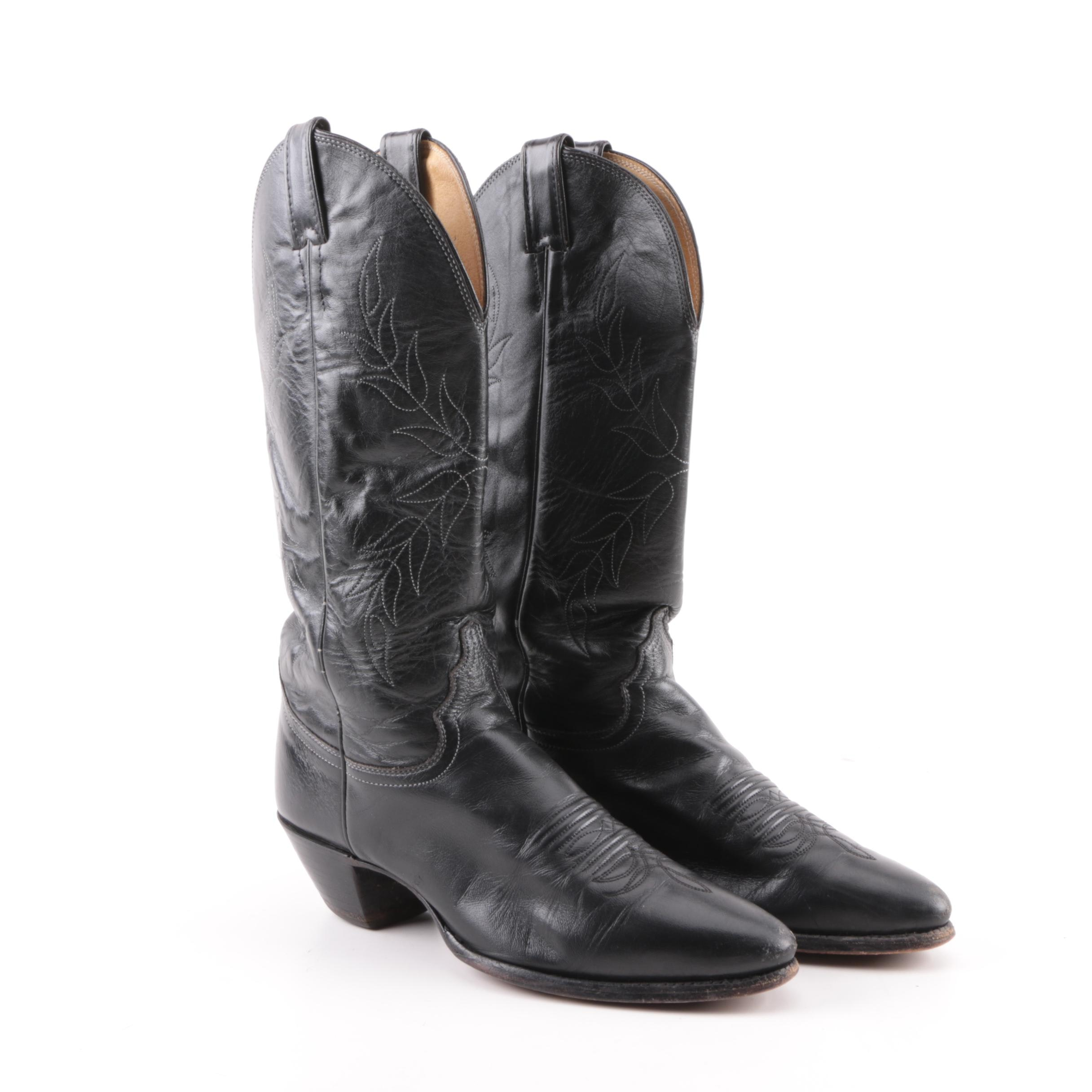 Women's Justin Black Leather Cowboy Boots with Embroidery