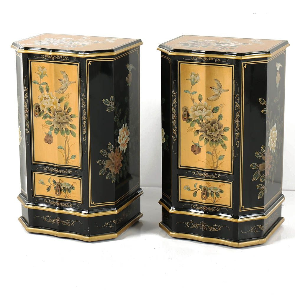 Chinese Black and Gold Floral Motif Lacquered Nightstand Pair
