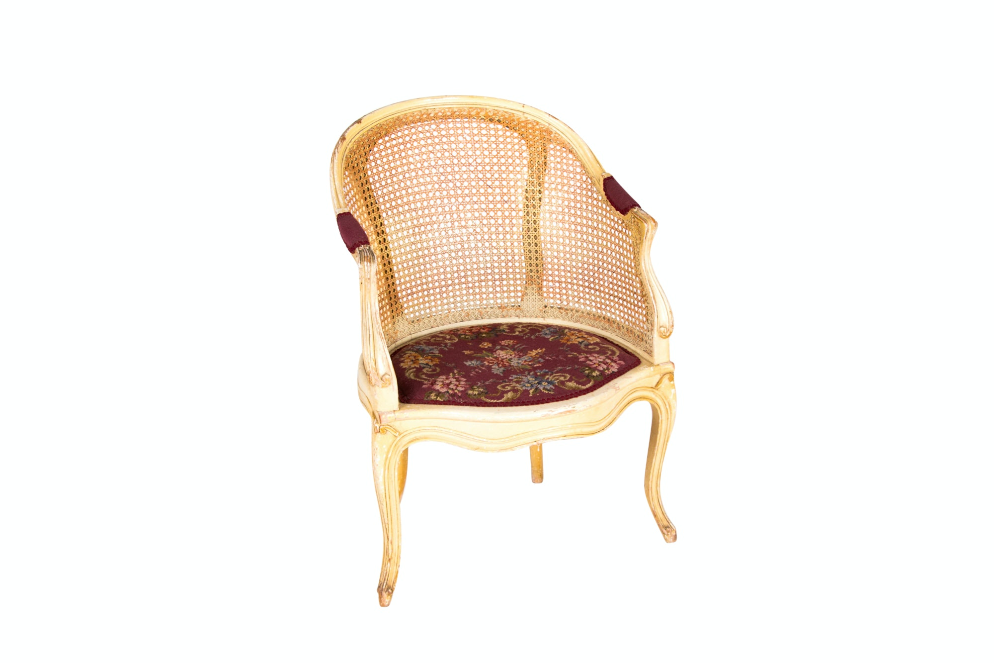 Louis XV Style Cream-Painted and Caned Fauteuil de Bureau, 20th Century