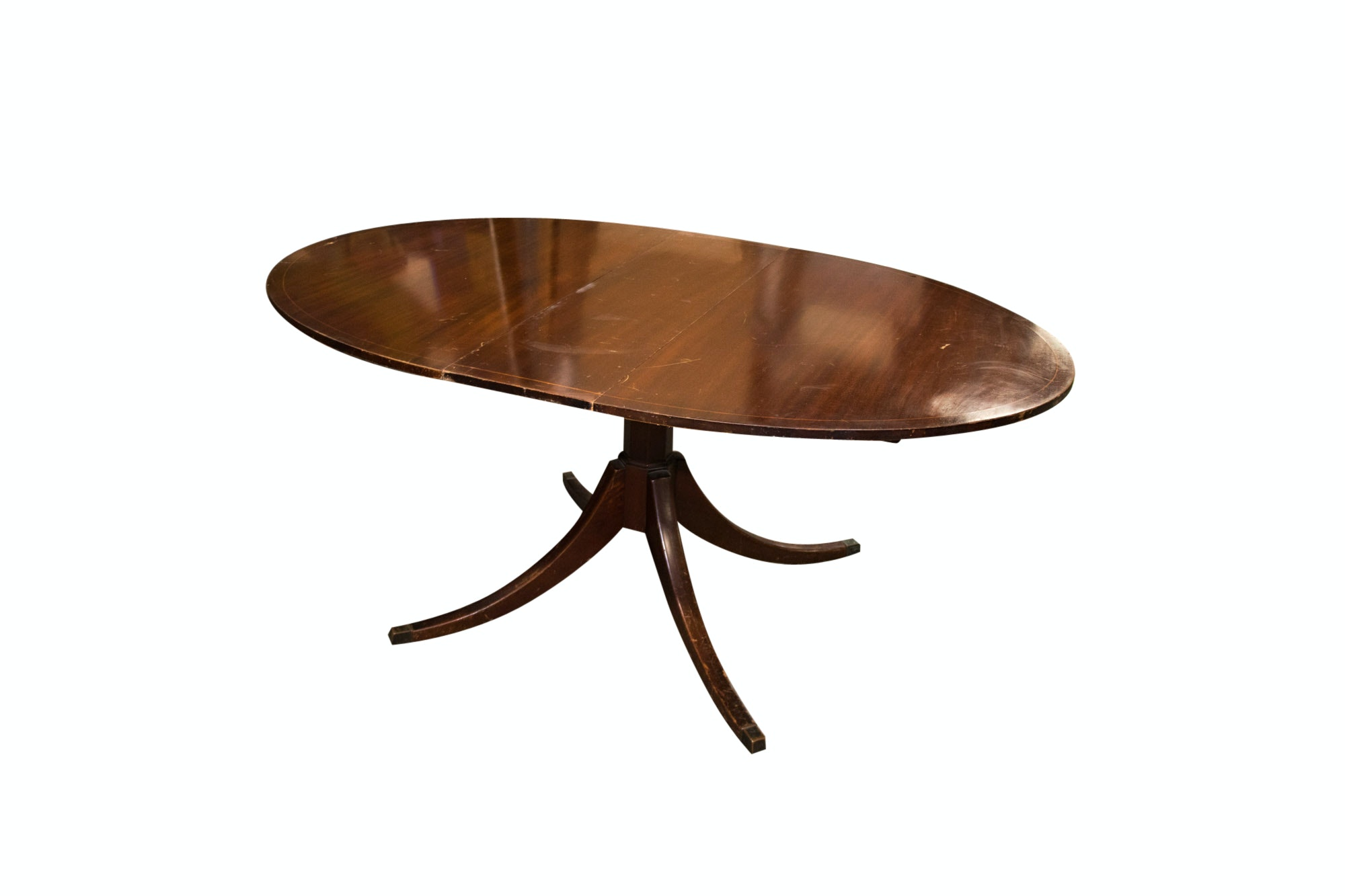Federal Style Mahogany and String-Inlaid Dining Table, 20th Century