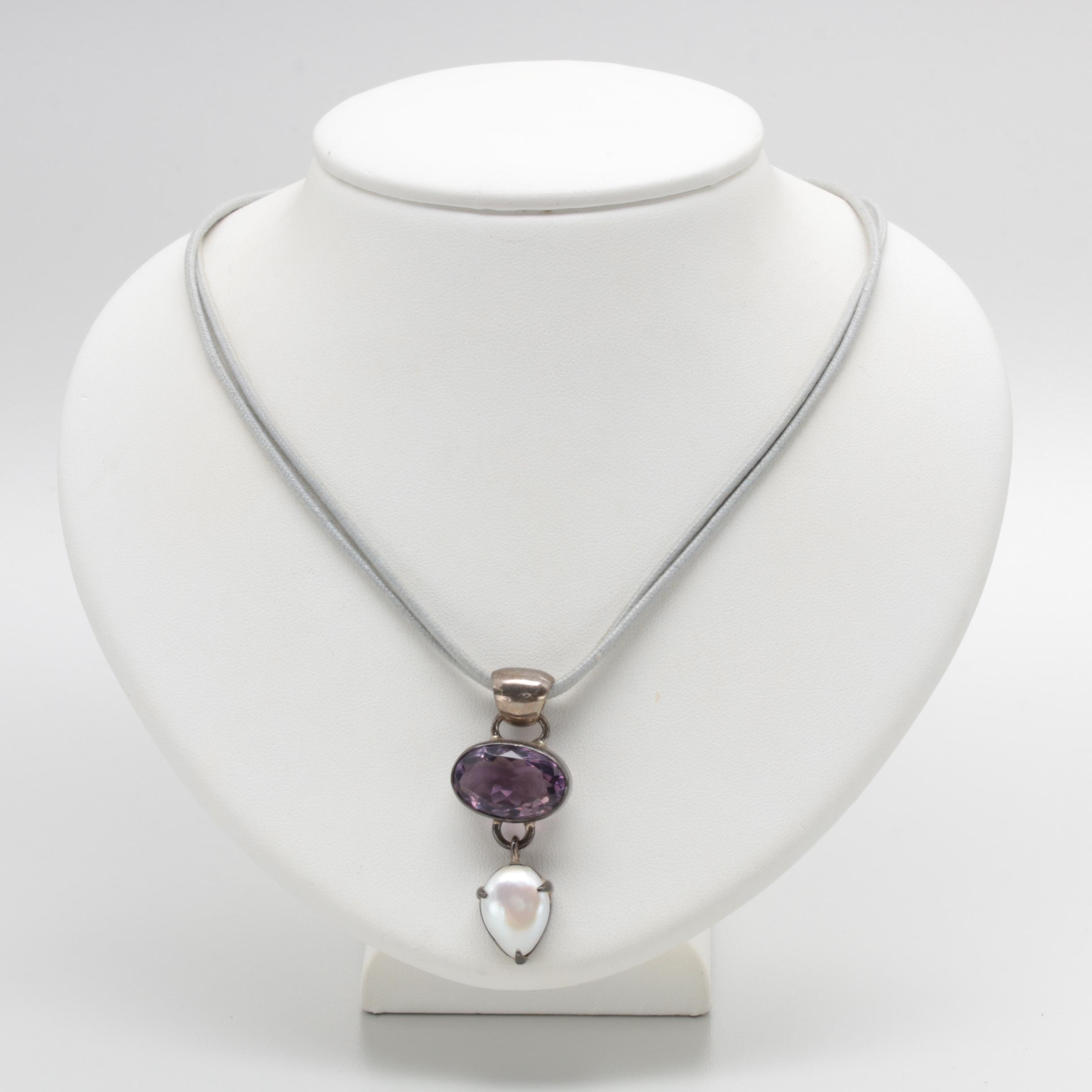 Gabriella Nanni Sterling Silver Amethyst and Cultured Pearl Necklace