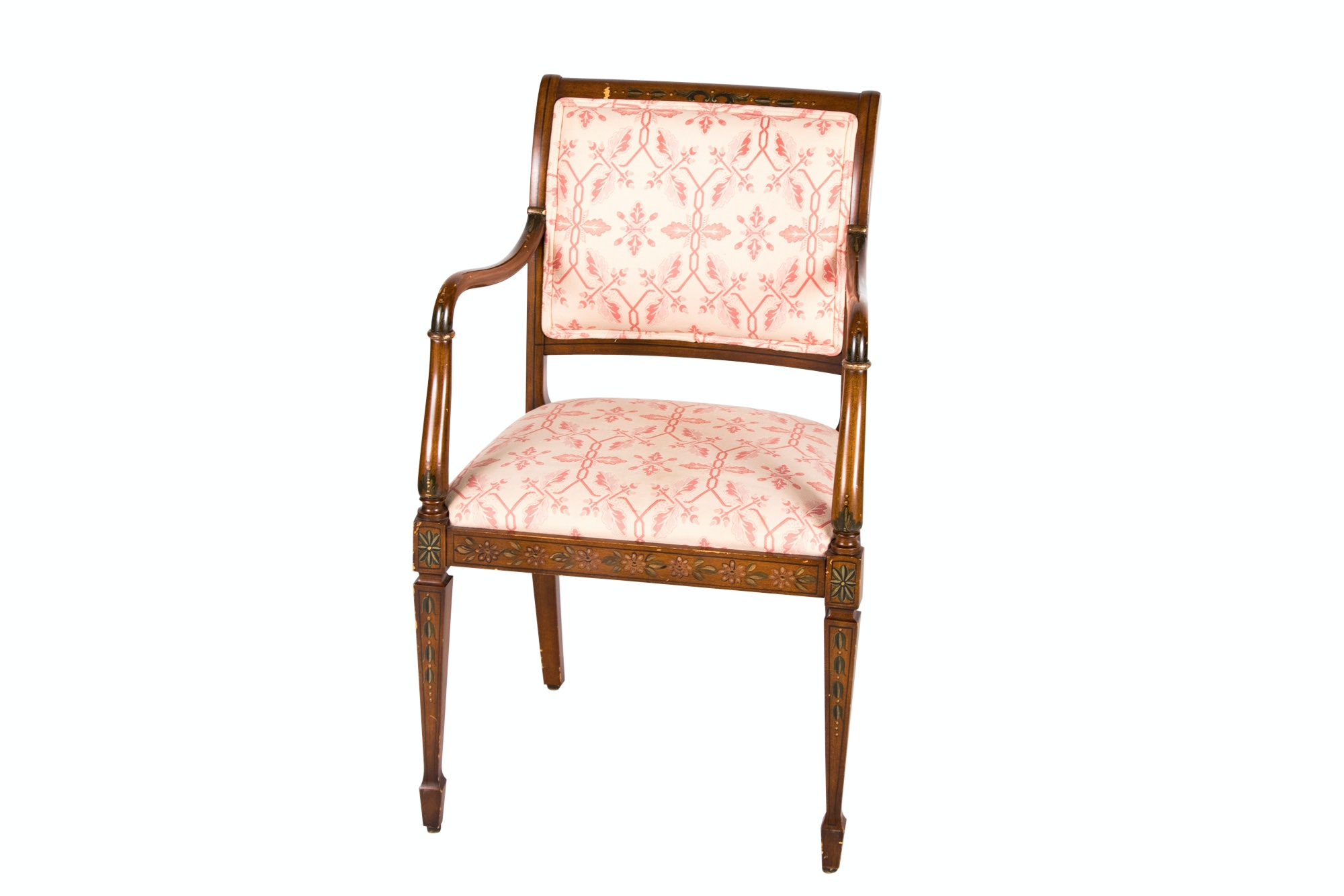 George III Style Paint-Decorated Open Armchair, 20th Century