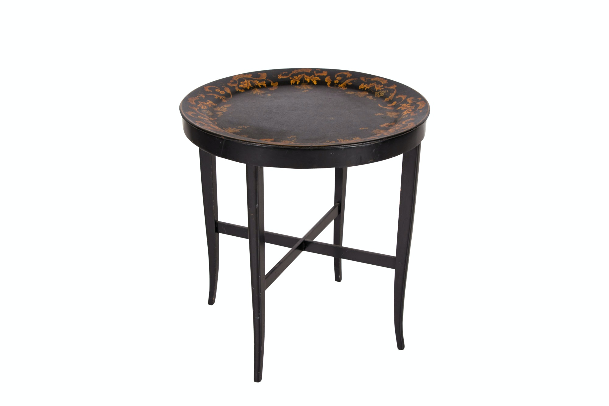 Victorian Style Black Lacquer and Parcel-Gilt Tray-on-Stand, 20th Century