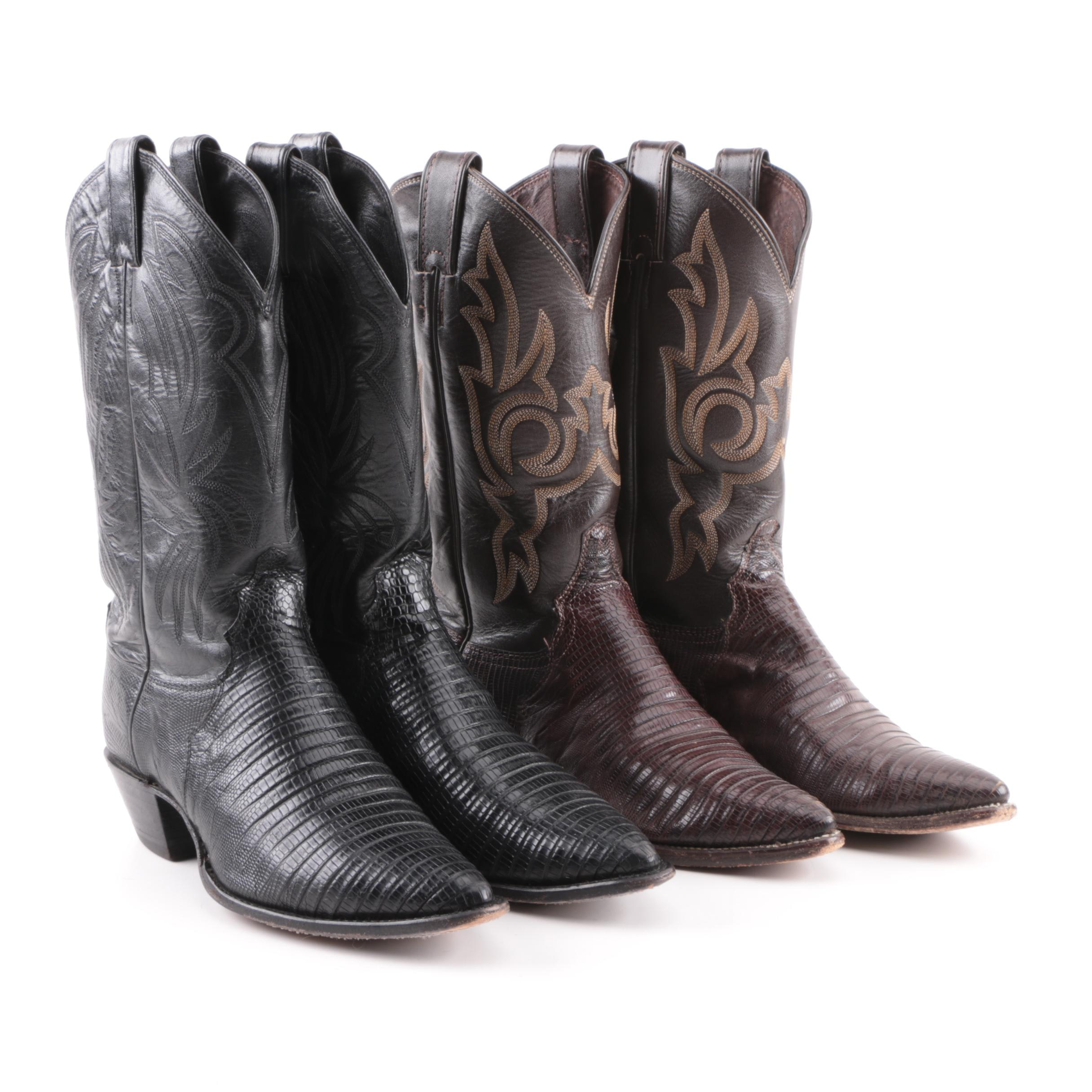 Women's Justin Black and Brown Leather and Lizard Western Boots