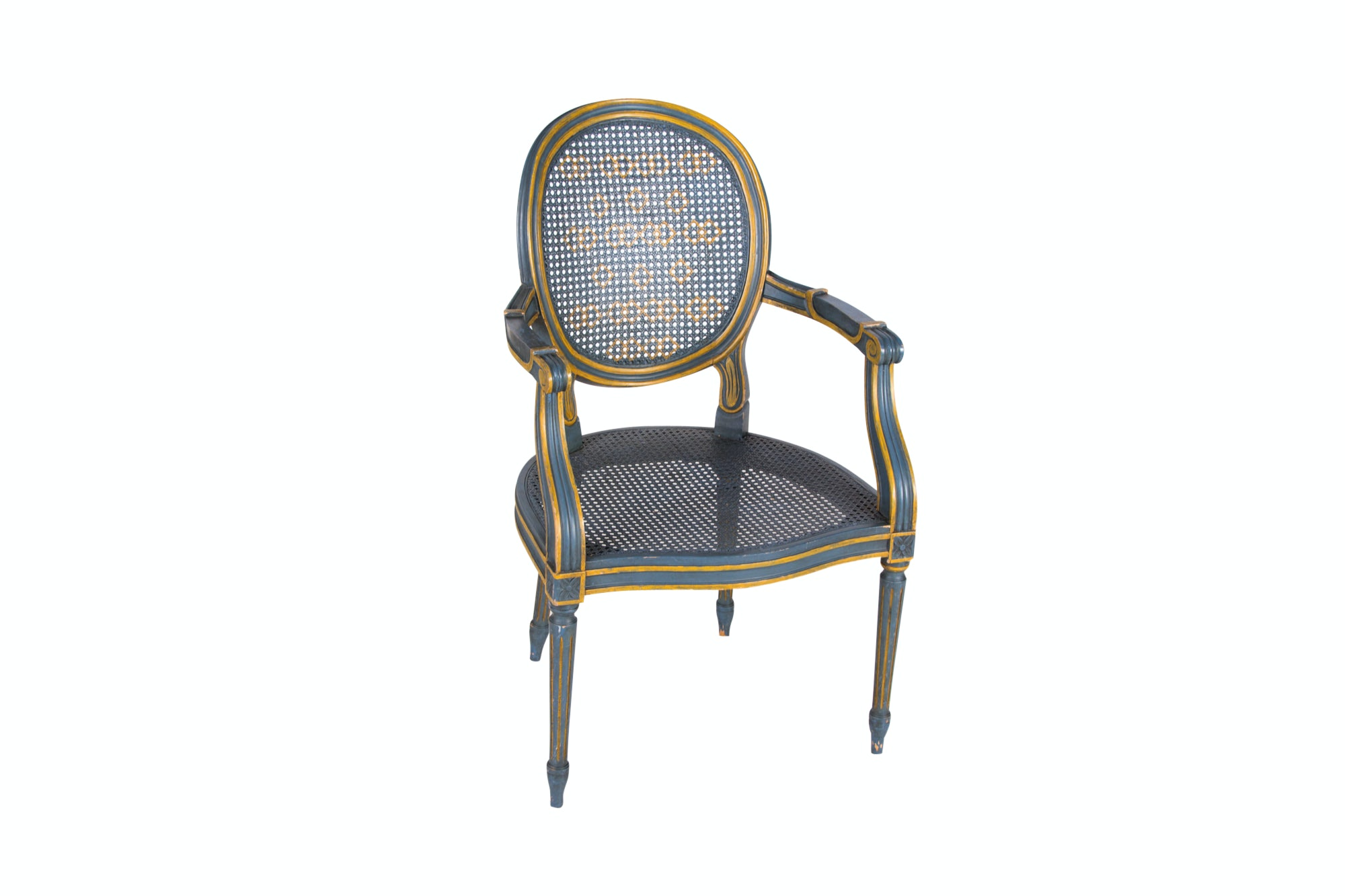 George III Style Painted and Cane Paneled Open Armchair, 20th Century