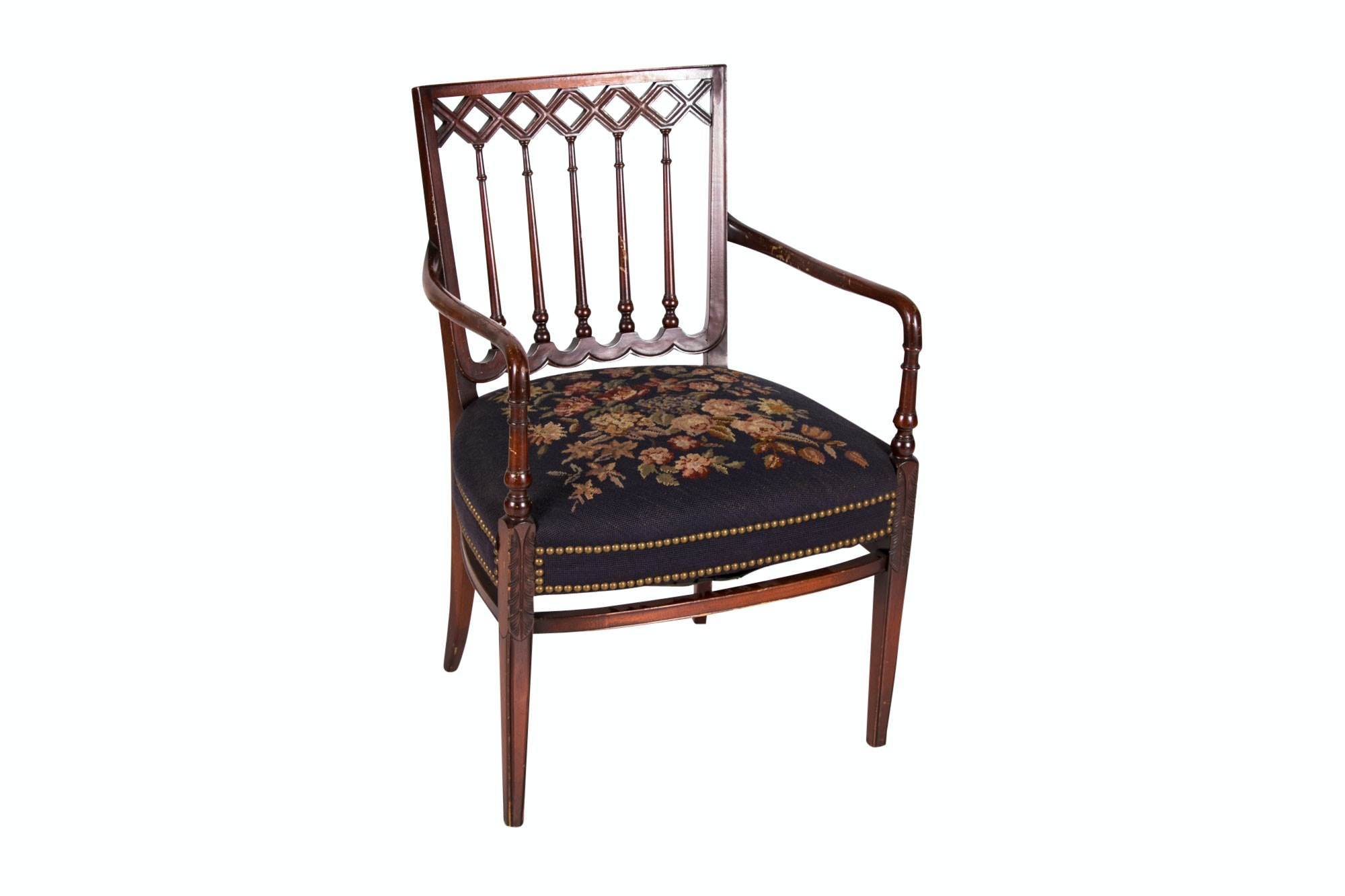 George III Style Carved Mahogany Open Armchair, Early 20th Century