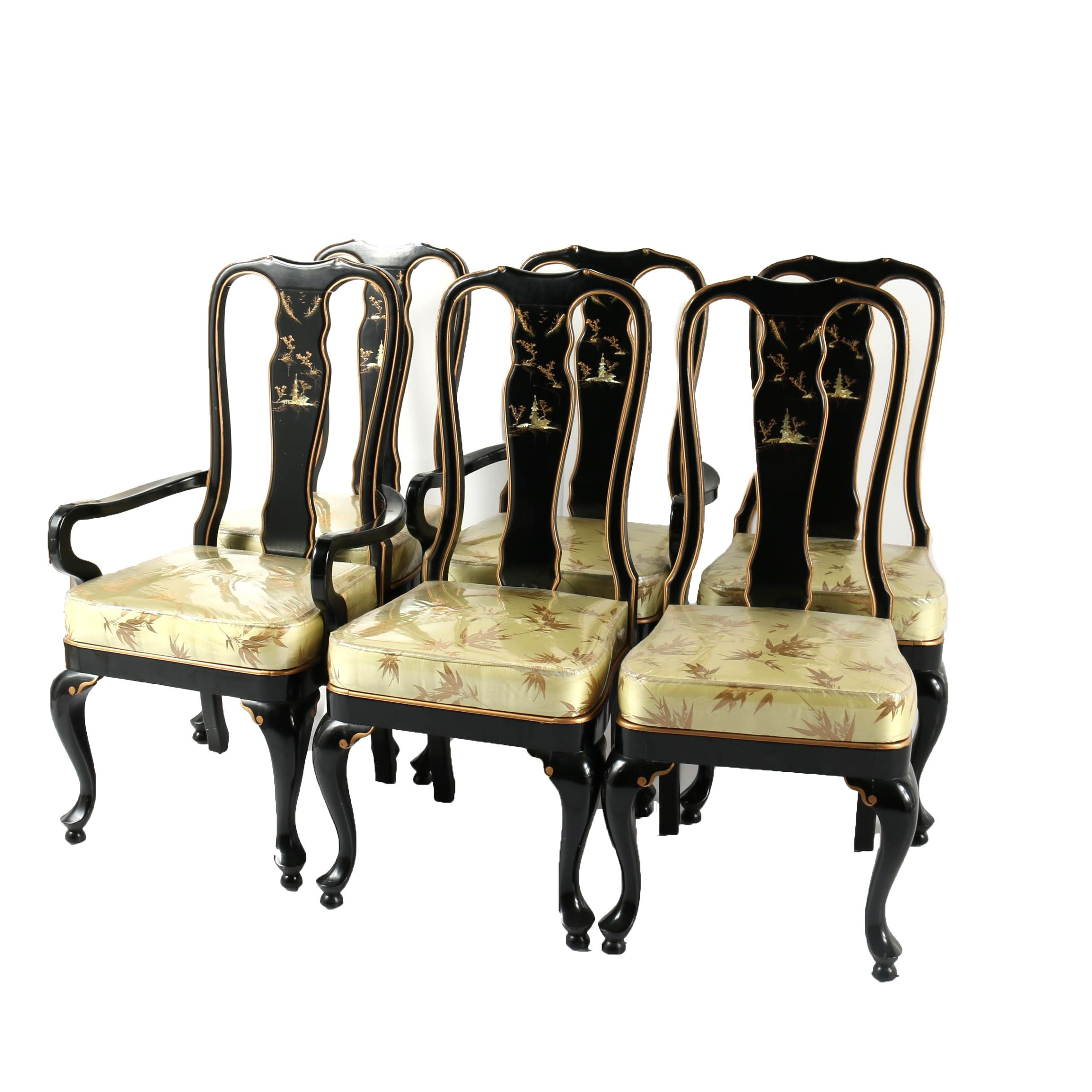 Vintage Chinese Black Lacquered Dining Chairs