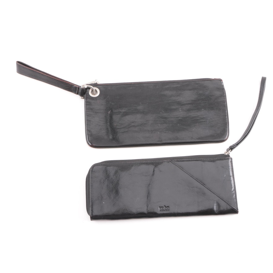 645a80d21904 Hobo International Black Leather and Patent Leather Wristlets   EBTH