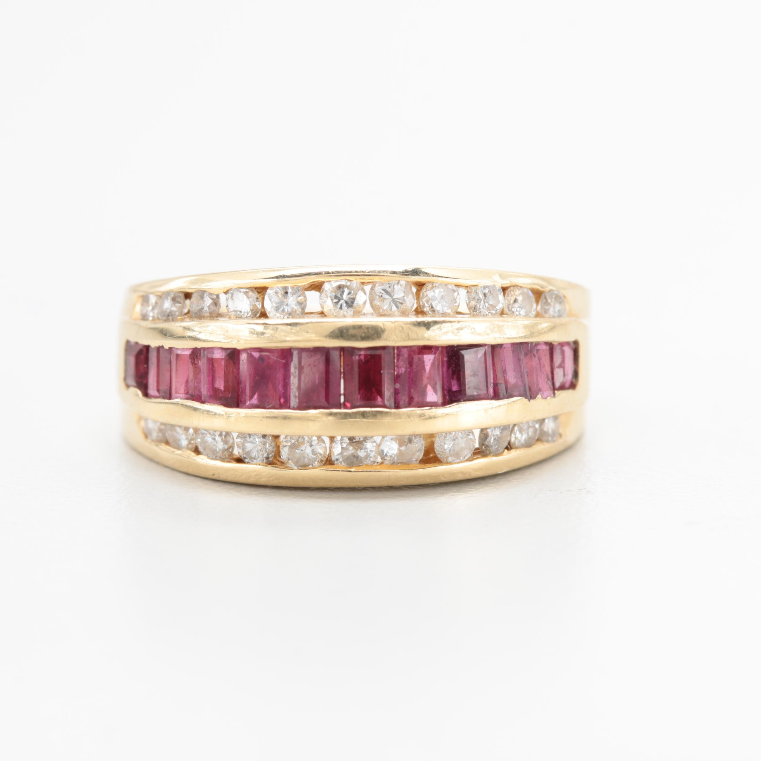 14K Yellow Gold Ruby and Diamond Channel Band