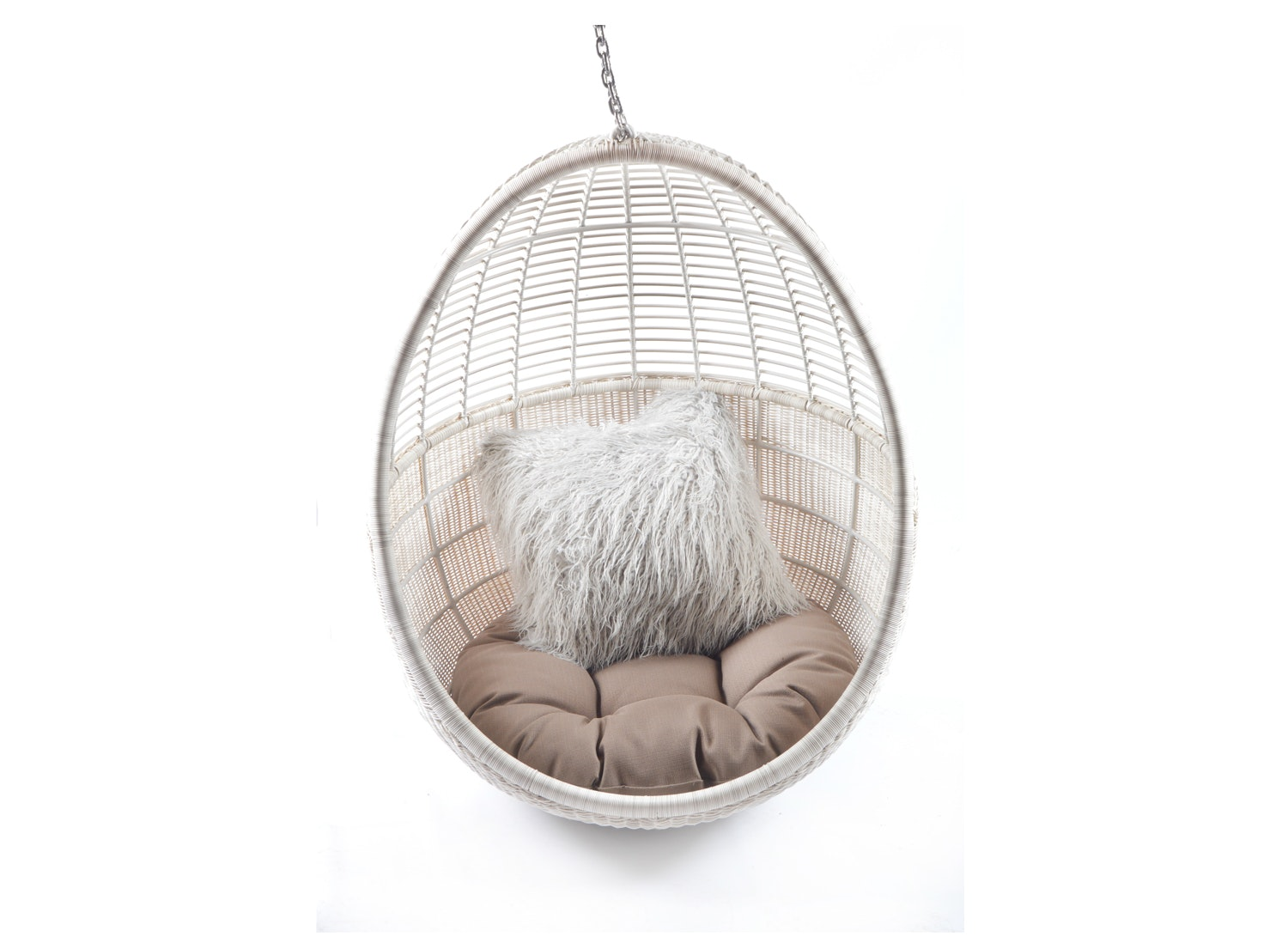 White Wicker Egg Hanging Chair