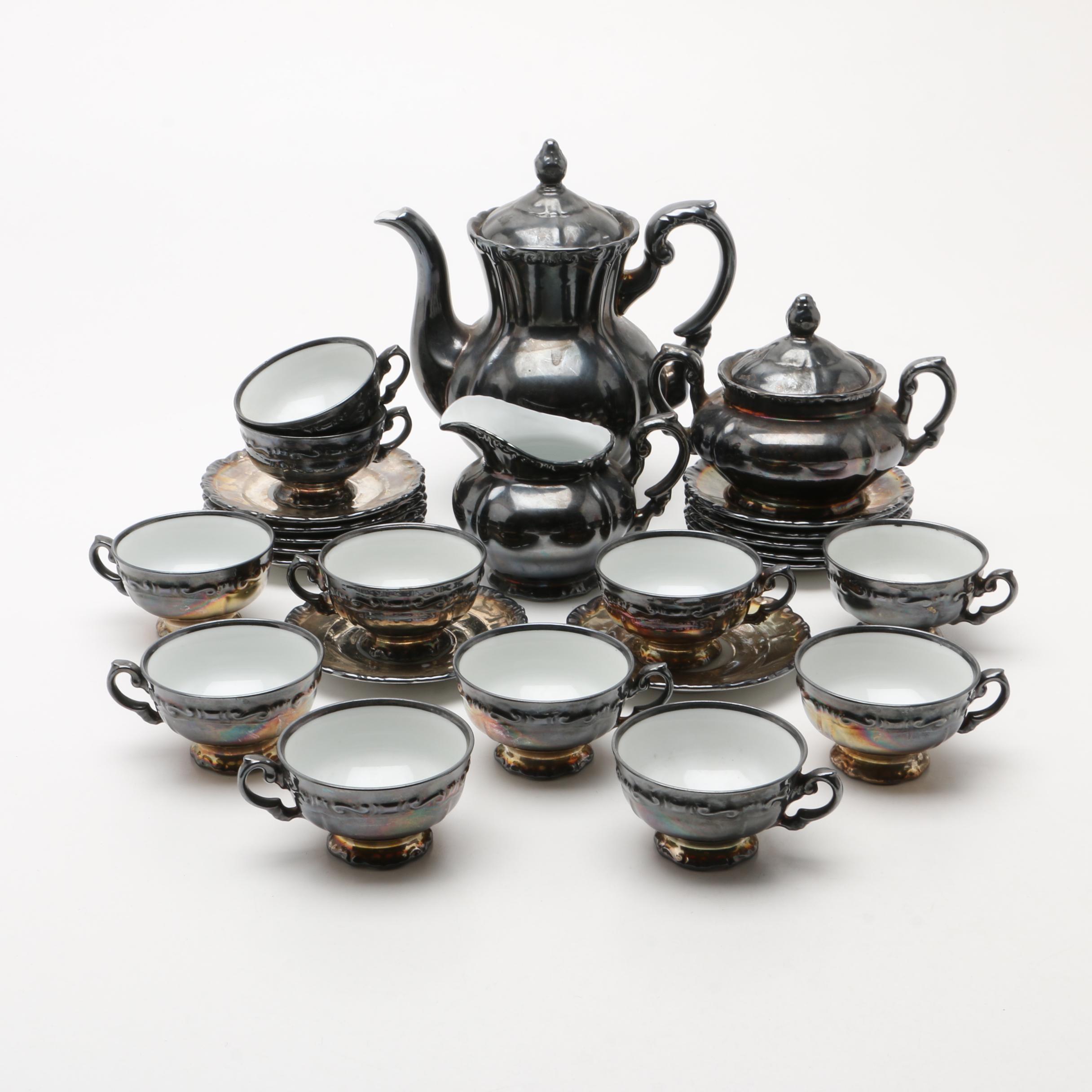 A German Silver Luster Porcelain Tea Service by Heinrich, 20th Century
