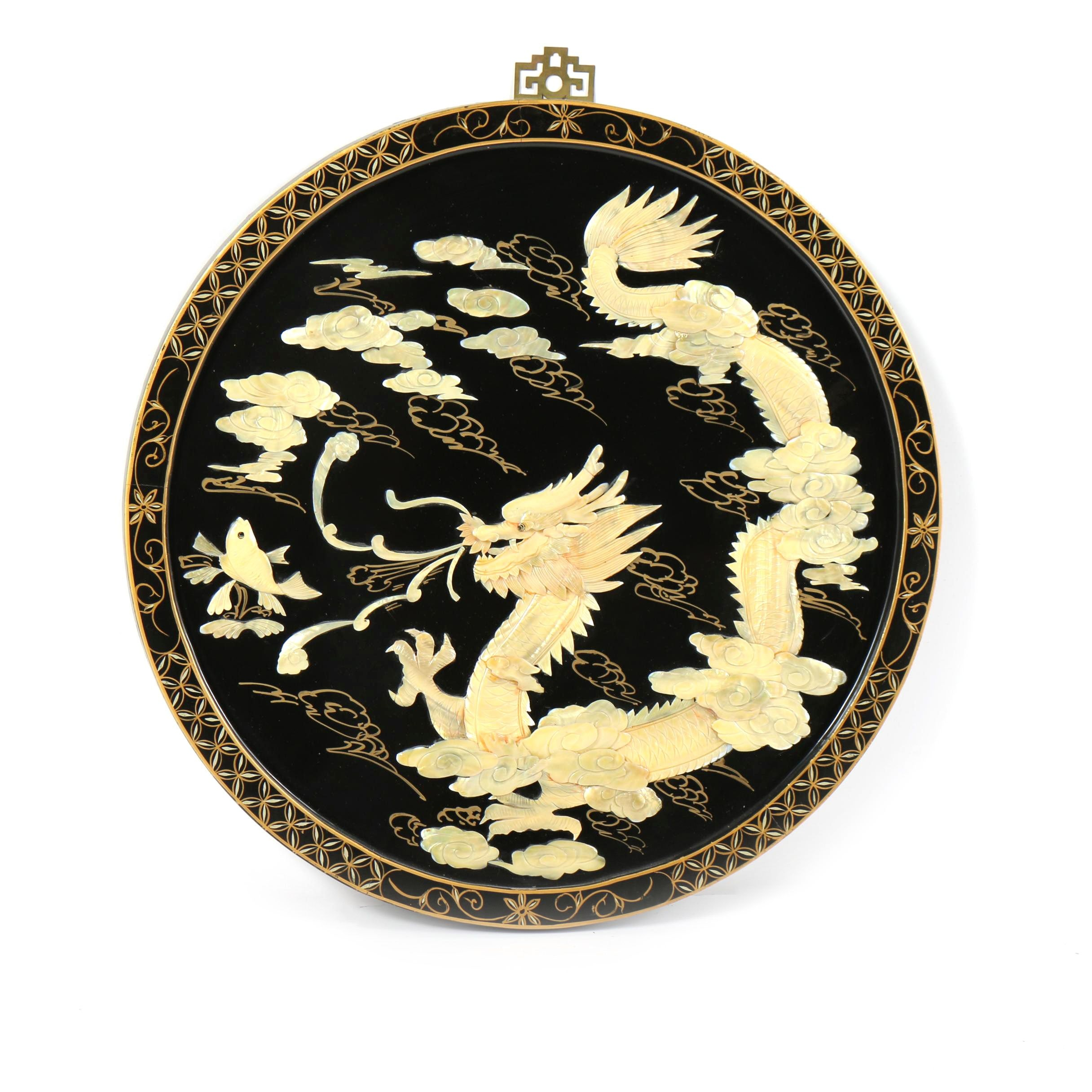 Chinese Black Lacquer Plaque with Mother of Pearl Inlay