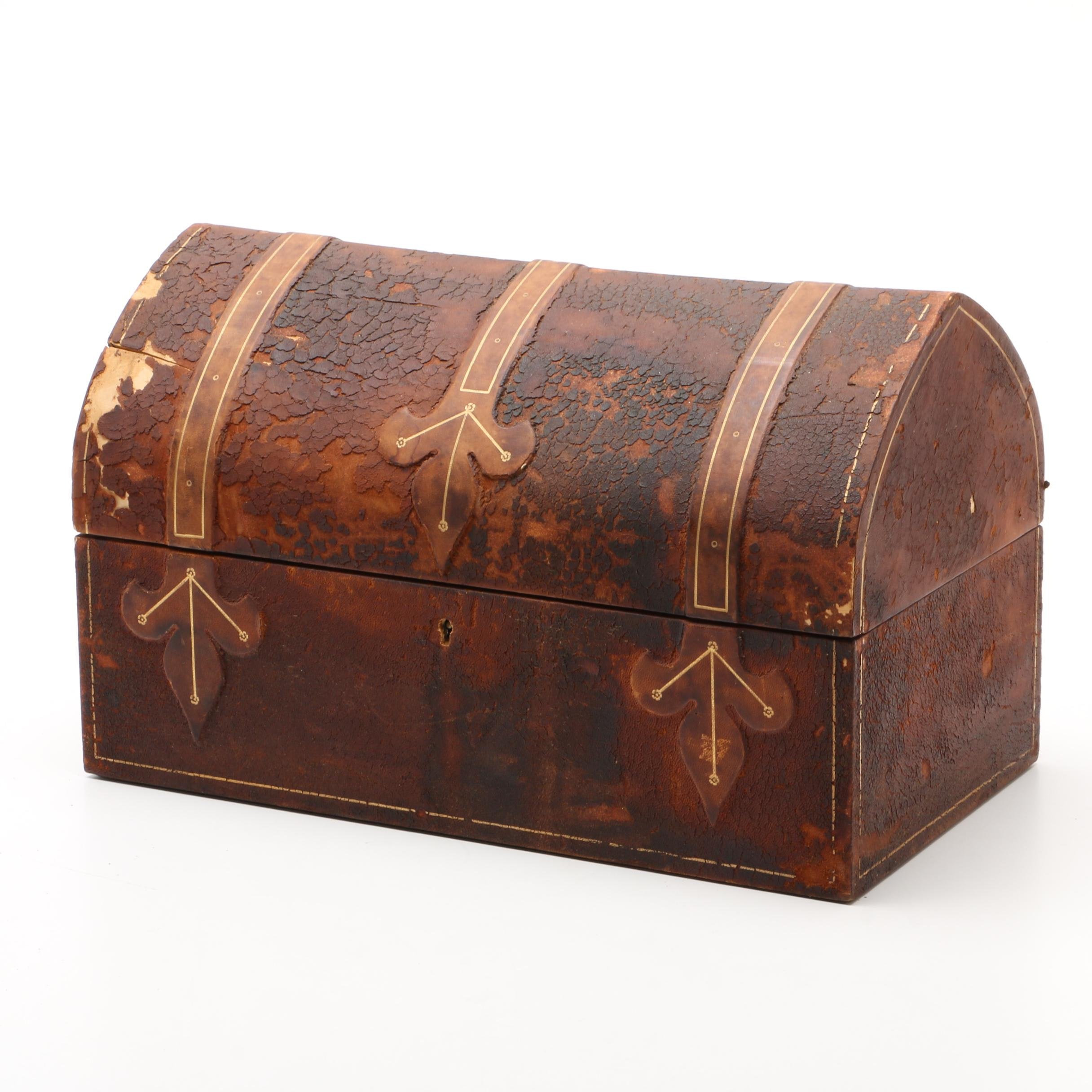 Italian Gilt Tooled Leather Domed Jewelry Casket, 20th Century
