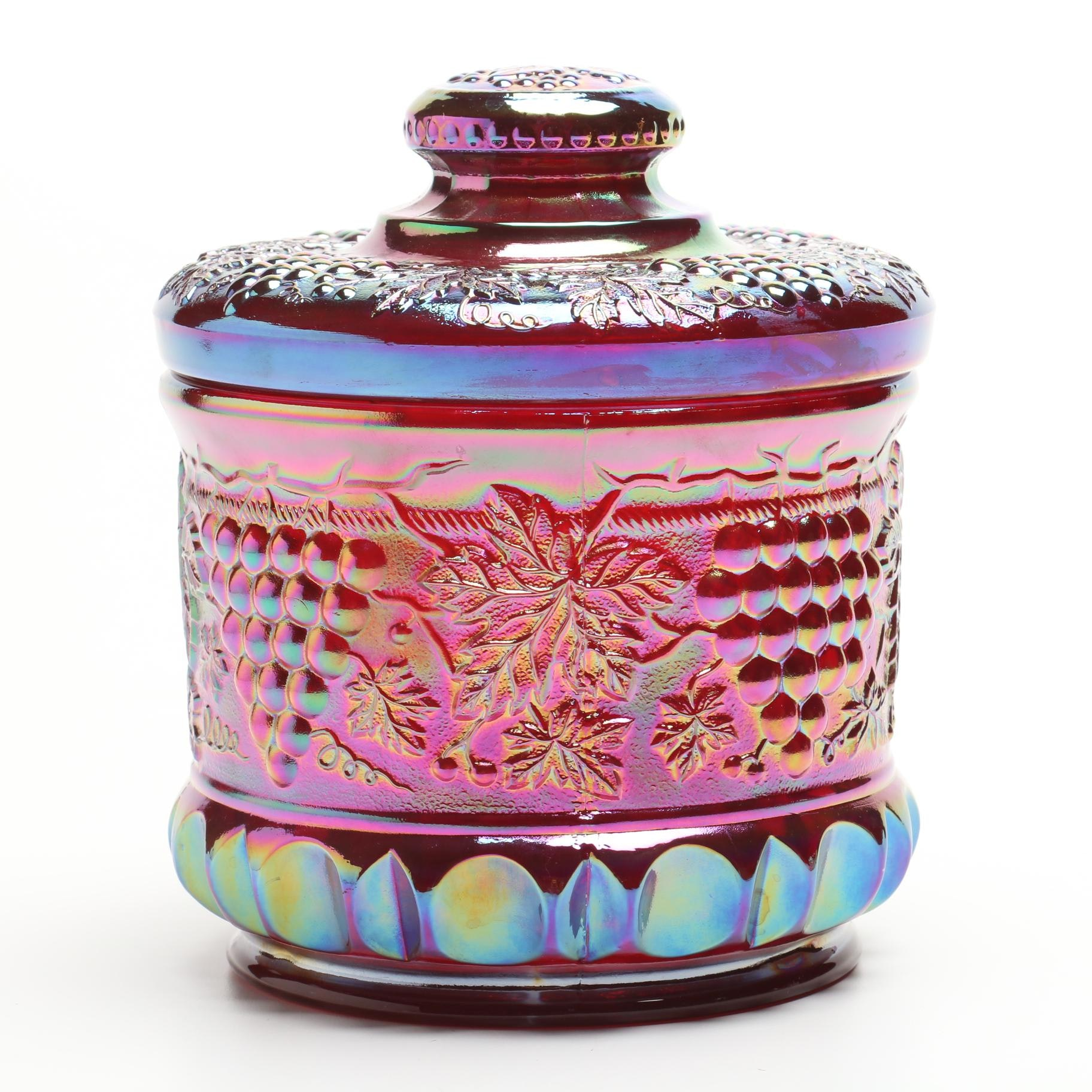 """Fenton Cranberry """"Grape and Cable"""" Humidor"""