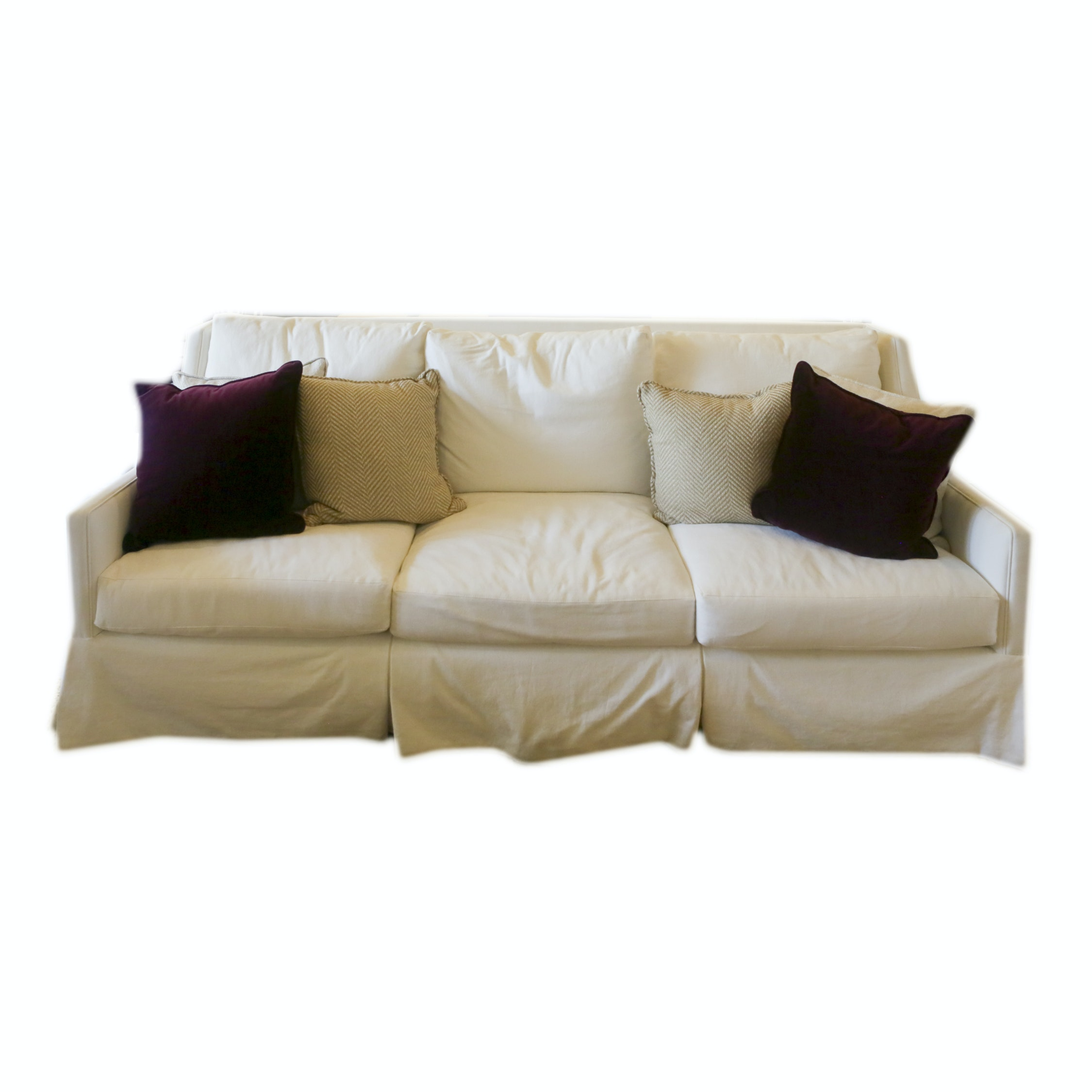 Contemporary White Upholstered Sofa