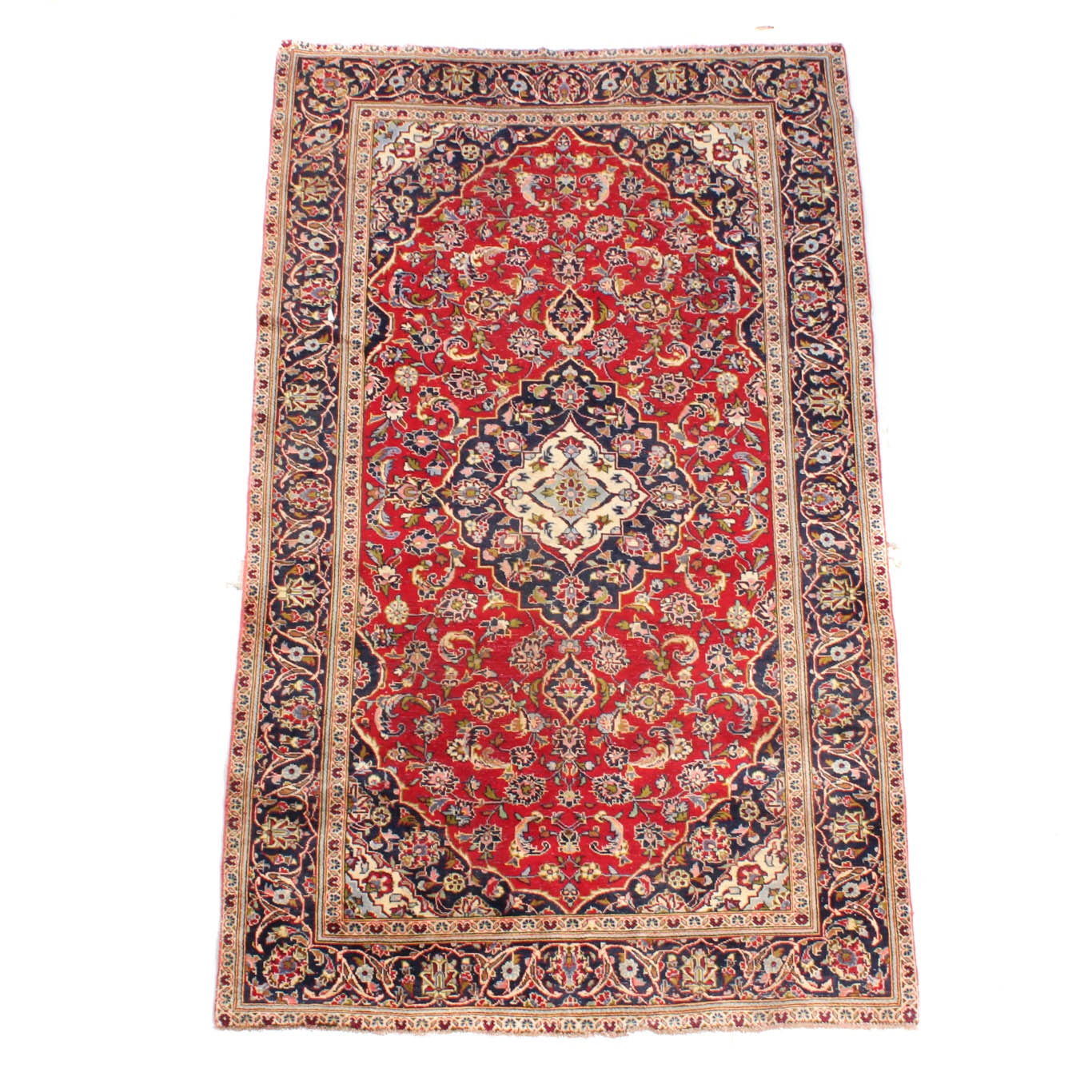 Vintage Hand-Knotted Persian Ardekan Kashan Rug