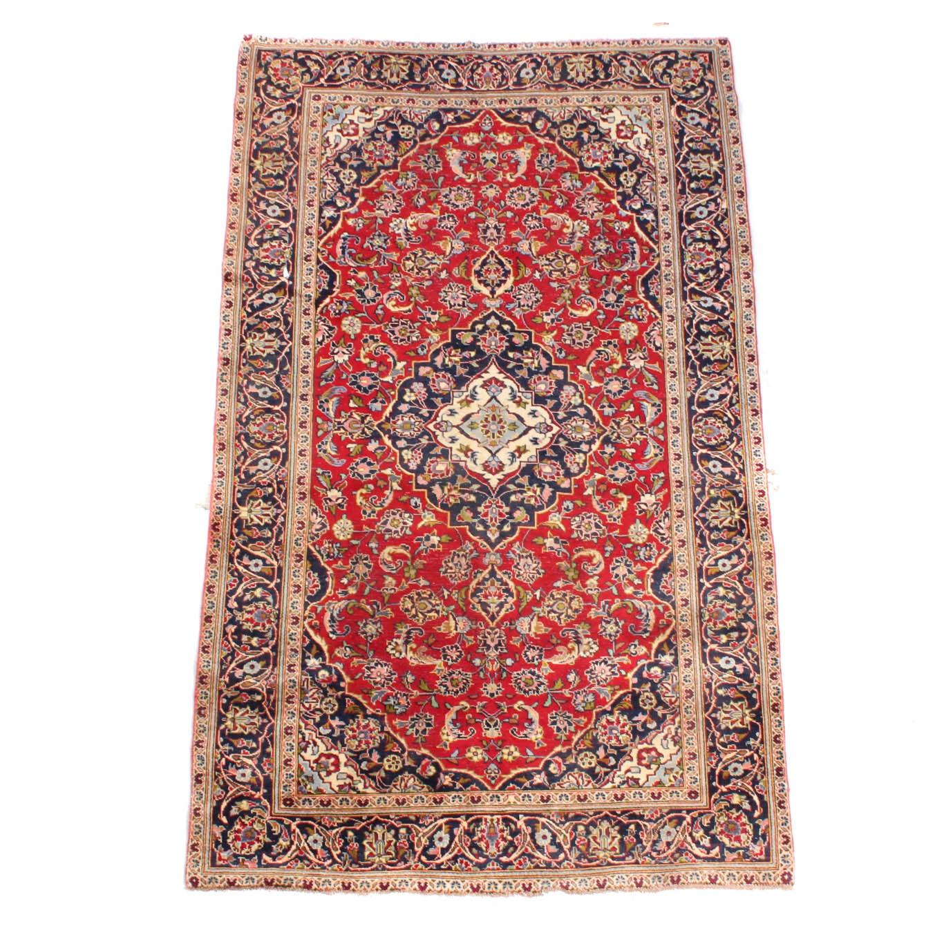 Vintage Hand-Knotted Persian Ardekan Kashan Rug