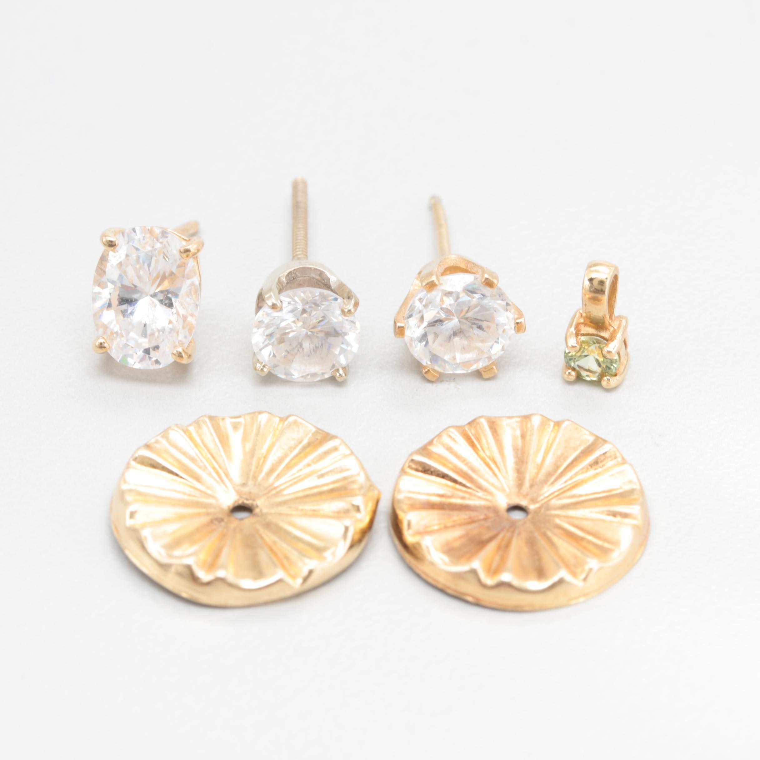 14K Yellow Gold Jewelry Assortment with Cubic Zirconia and Synthetic Spinel