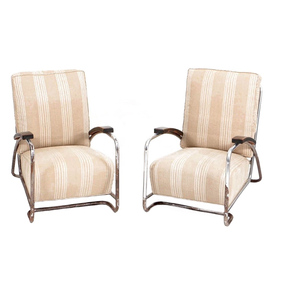 Circa 1930s Art Deco Tubular Chrome Lounge Chairs
