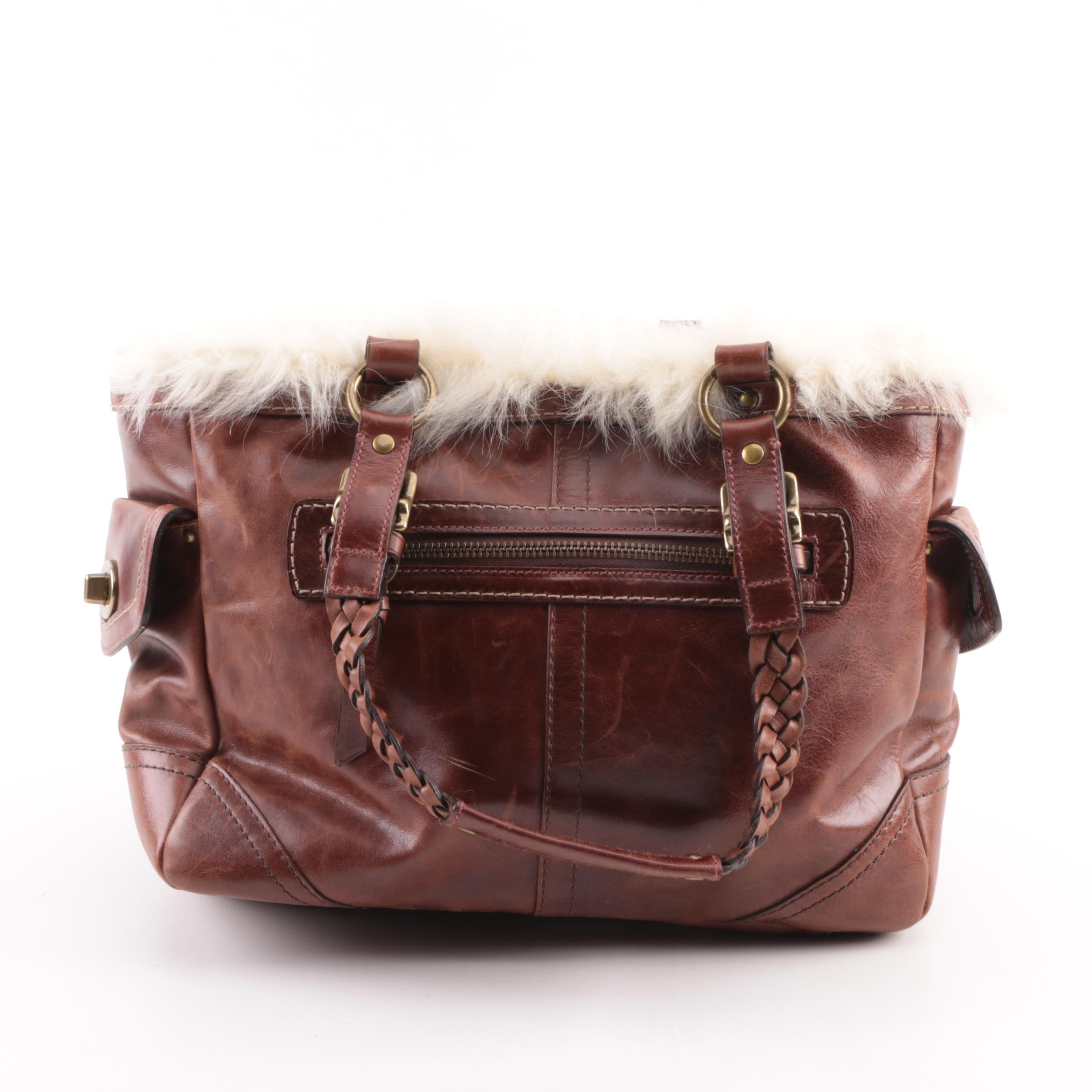Coach Brown Leather and Shearling Satchel