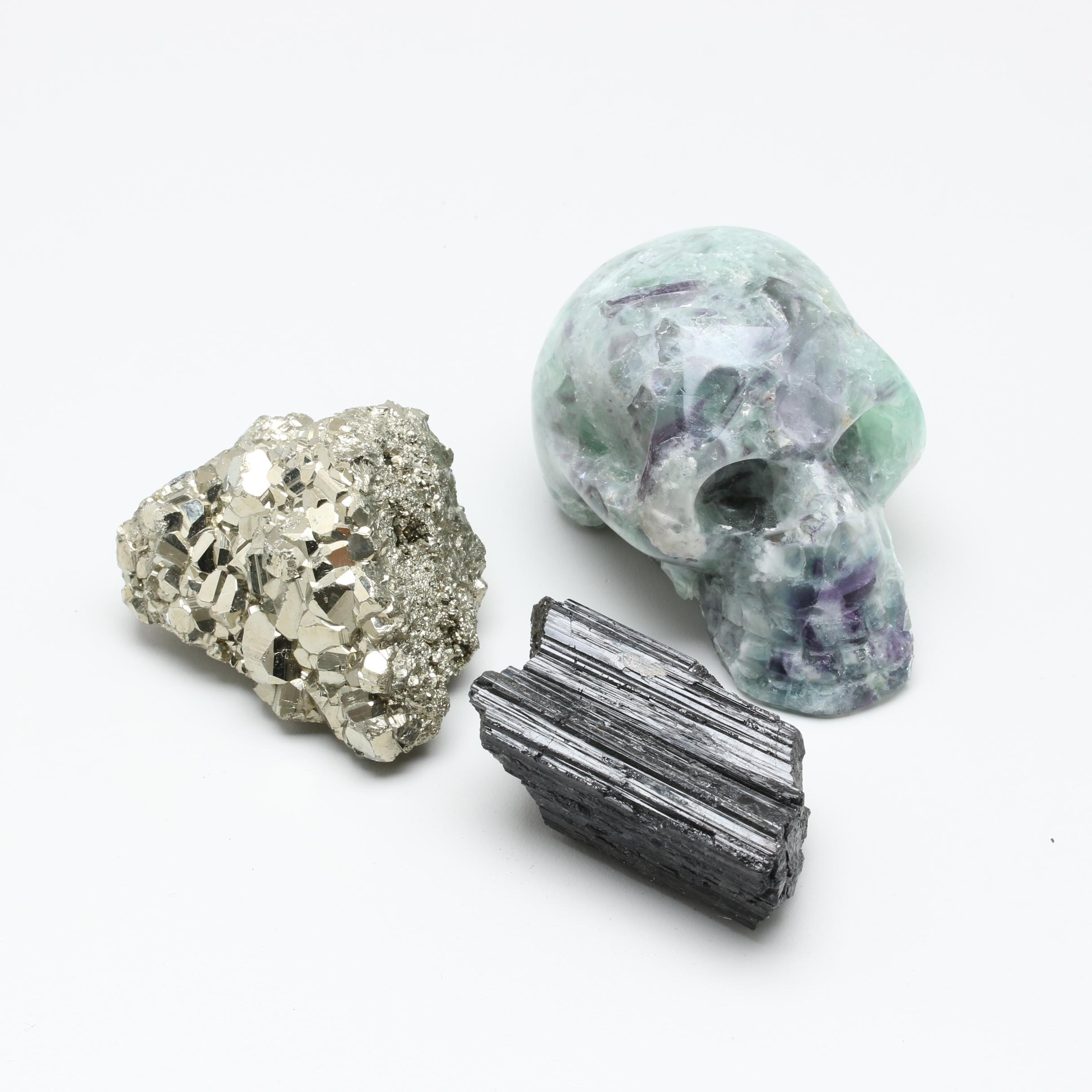 Collection of Mineral Specimens Including Schorl, Pyrite, and Fluorite Skull