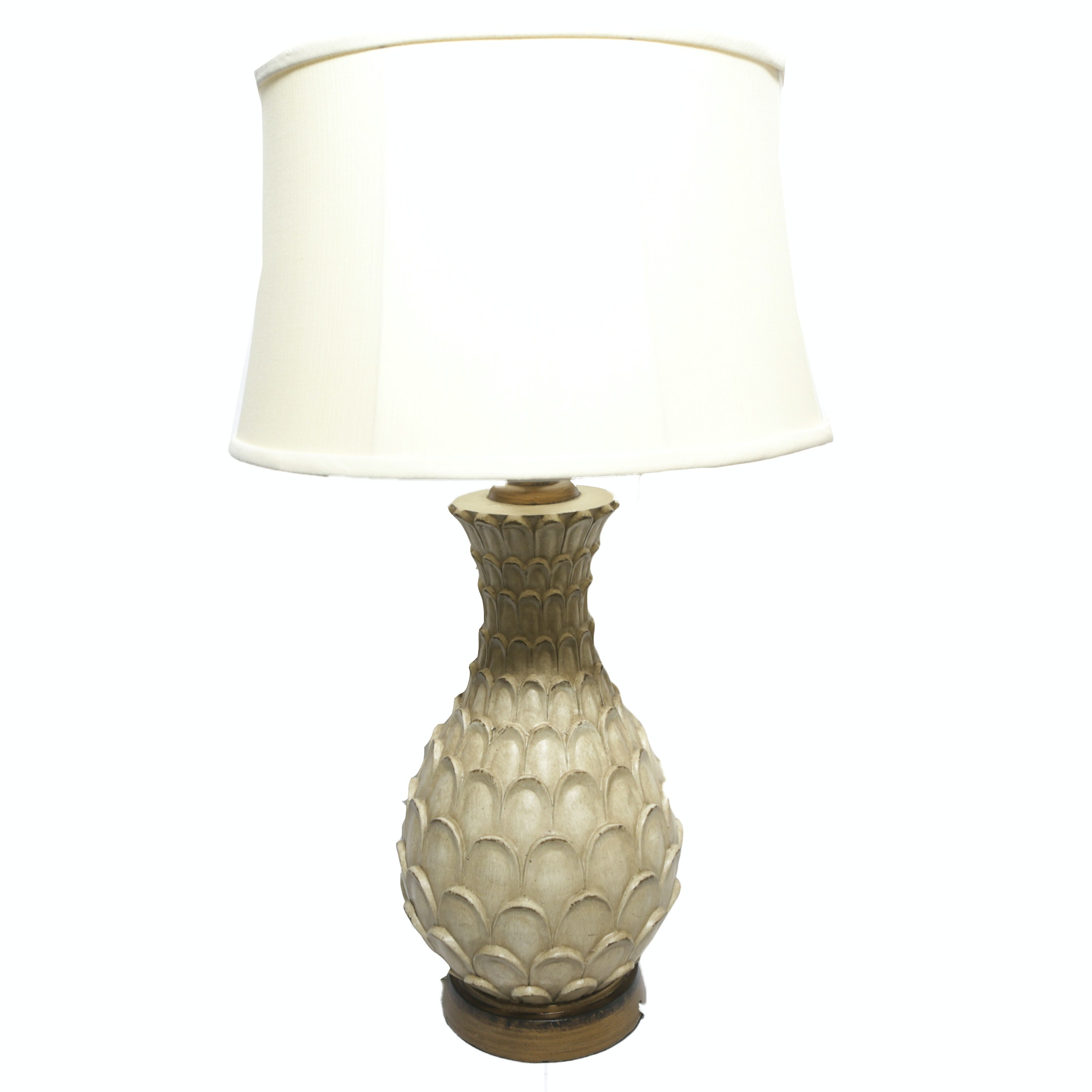 Petalled Tan Resin Table Lamp with Fabric Drum Shade