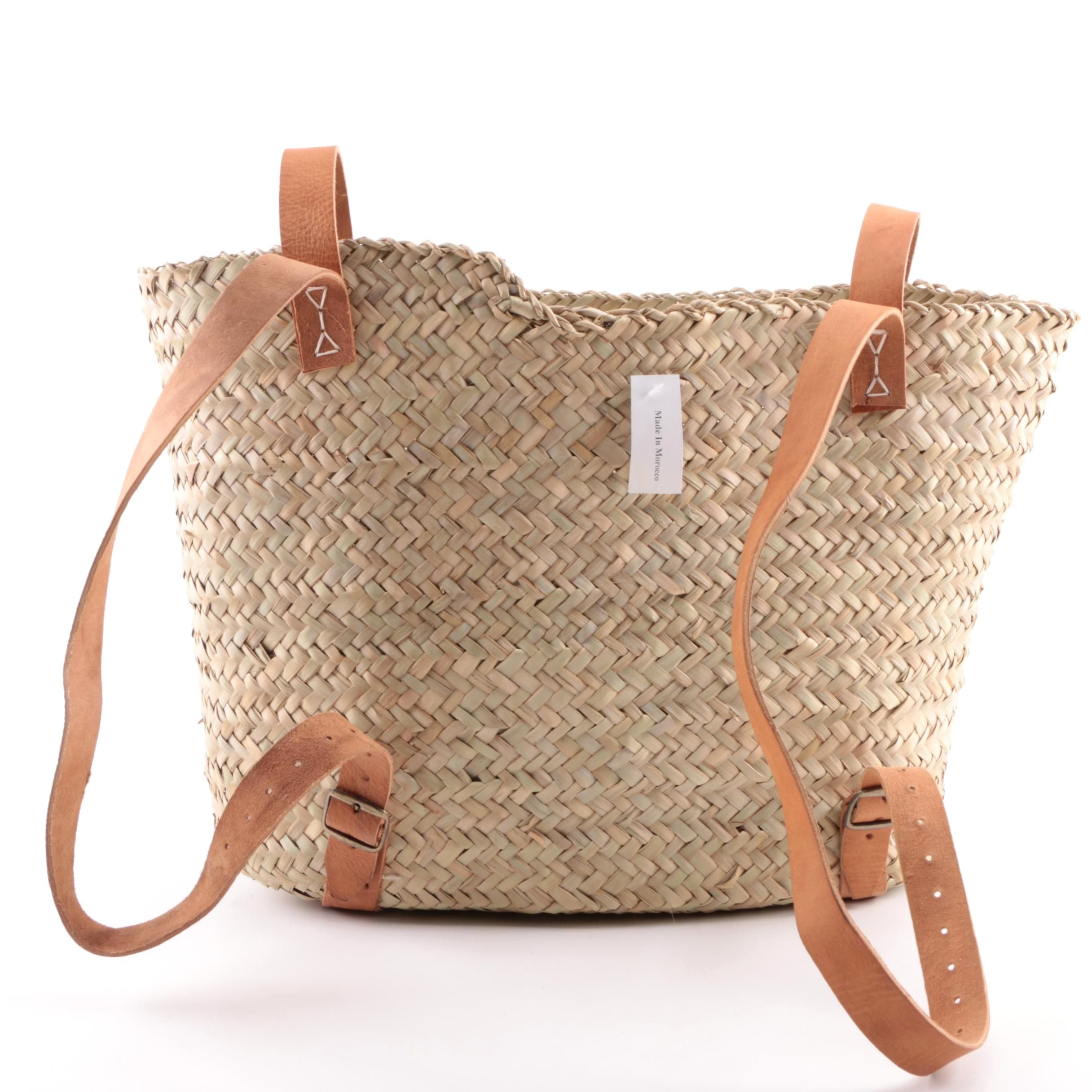 Moroccan Woven Straw Backpack