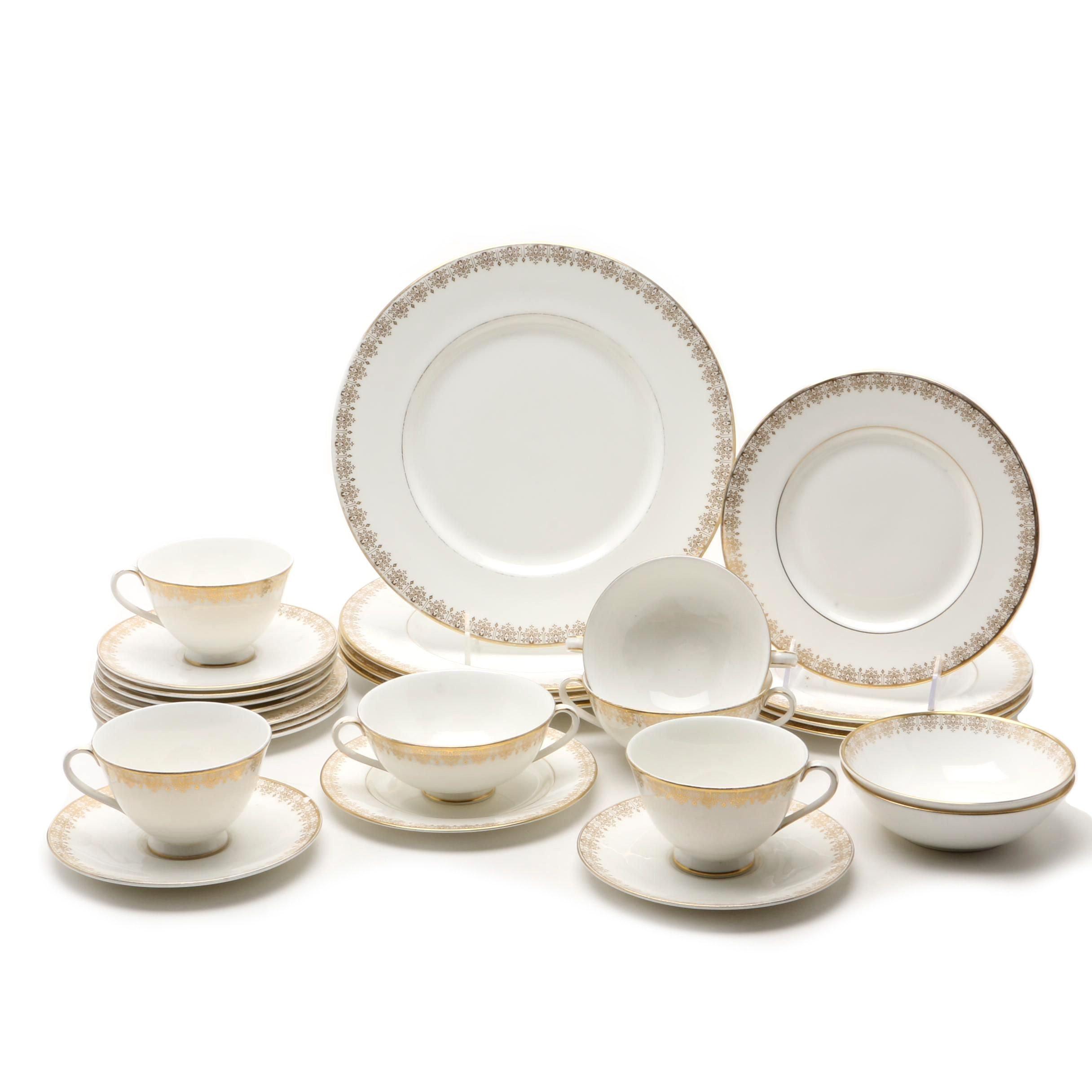 """Royal Doulton Porcelain """"Gold Lace"""" Part Dinner Service, 20th Century"""