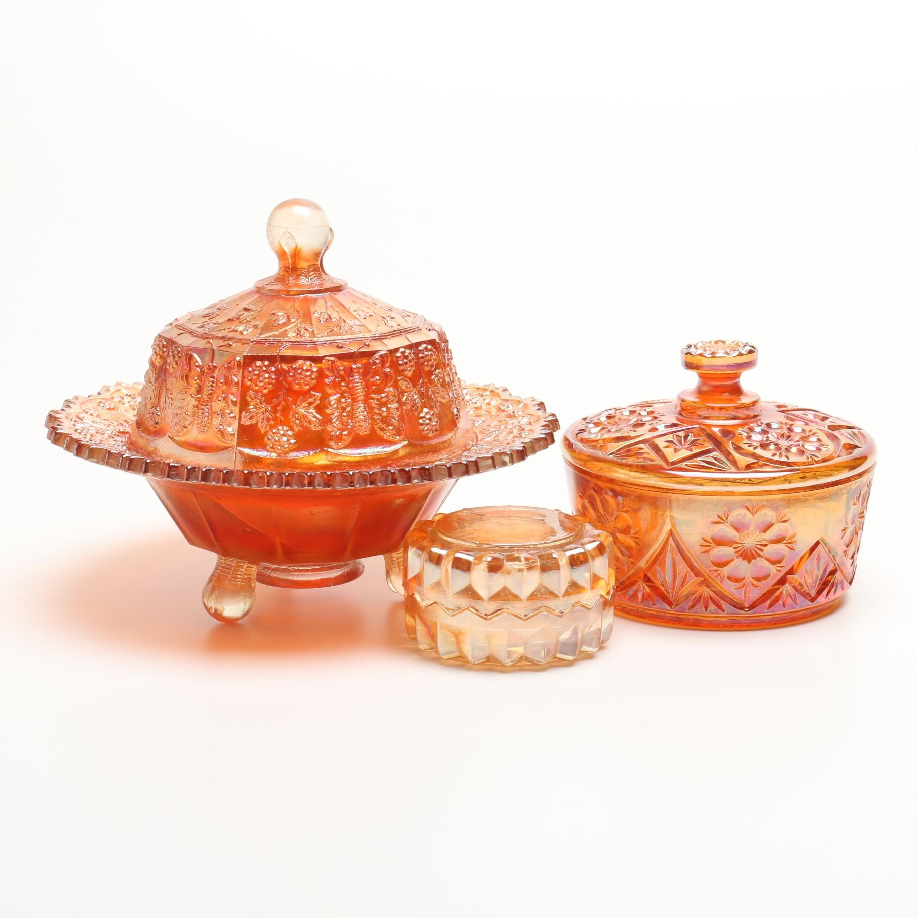 Lidded Marigold Carnival Glass Dishes