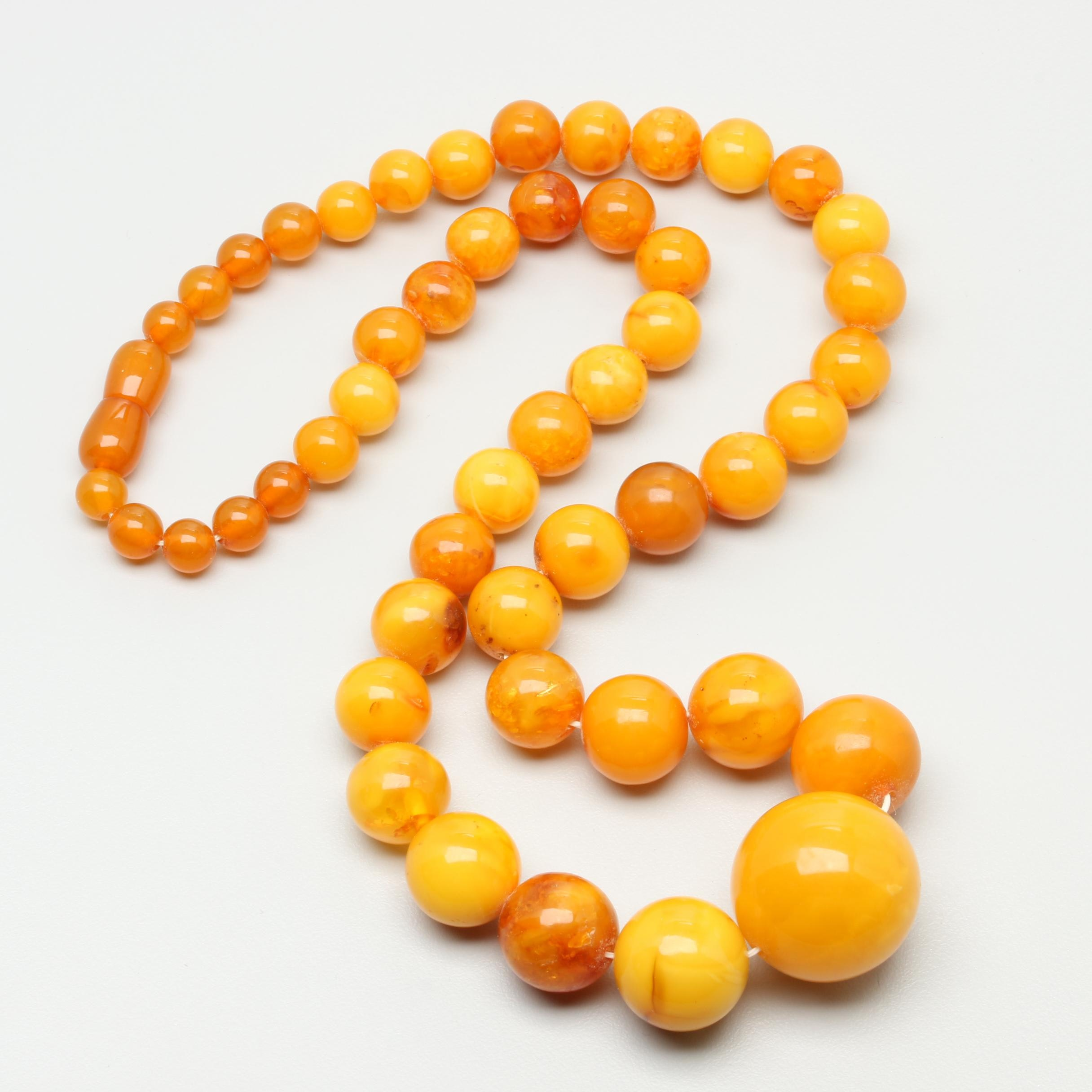 Graduated Beaded Amber Single Strand Necklace