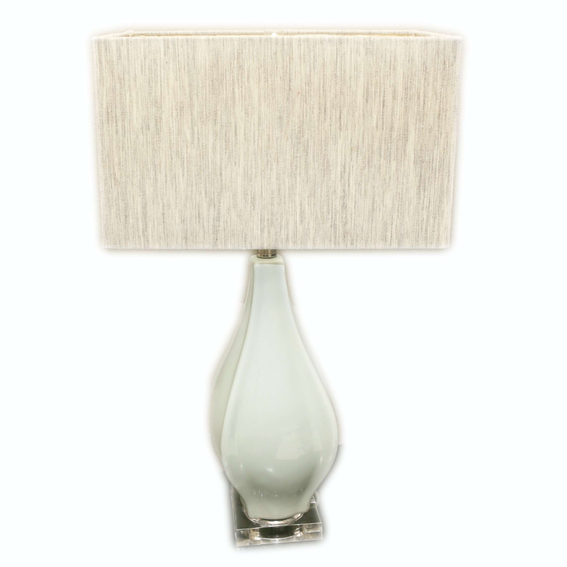 White Ceramic Table Lamp with Acrylic Base and Tan Fabric Rectangular Shade