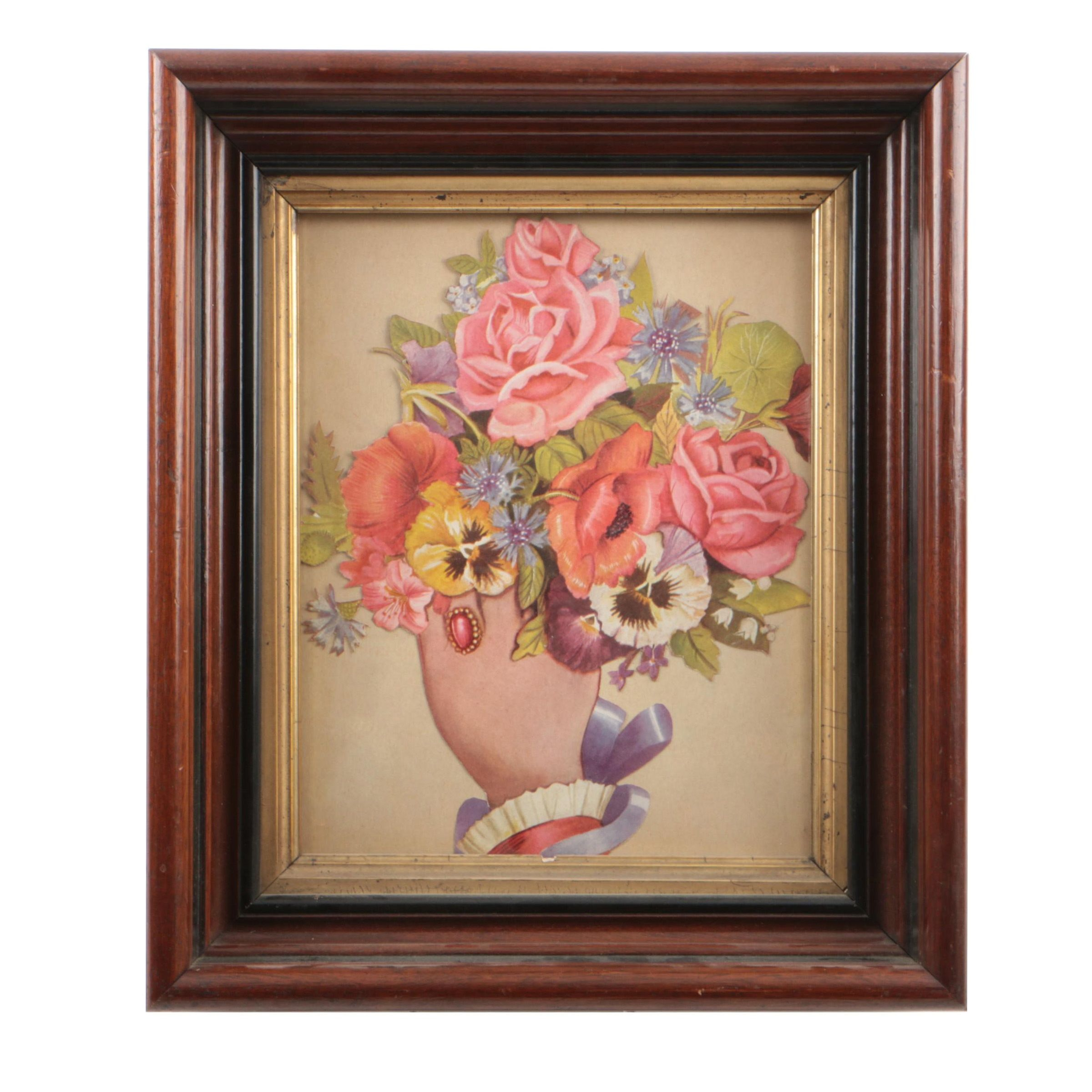 Victorian Offset Lithograph on Paper of a Floral Bouquet