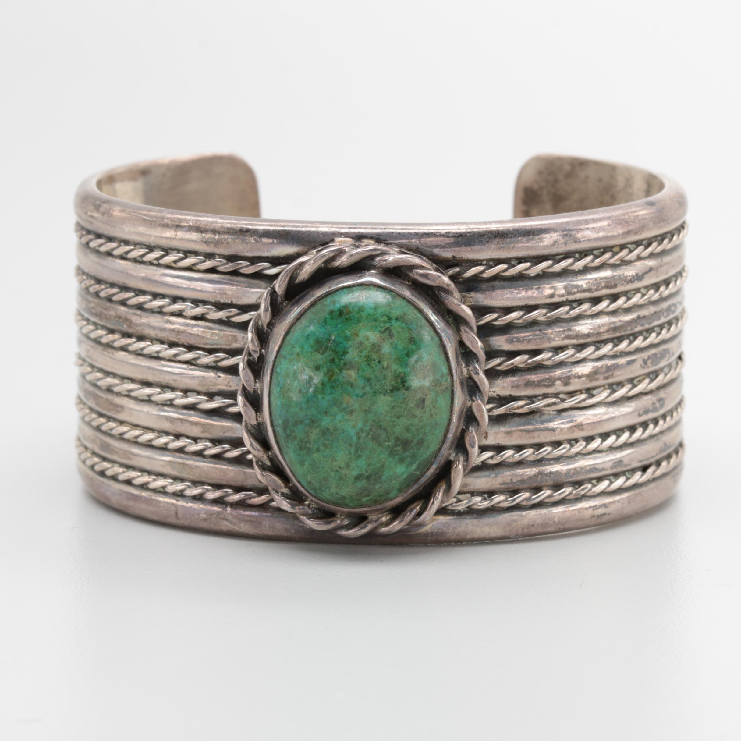 Taxco Sterling Silver Eilat Stone Cuff Bracelet