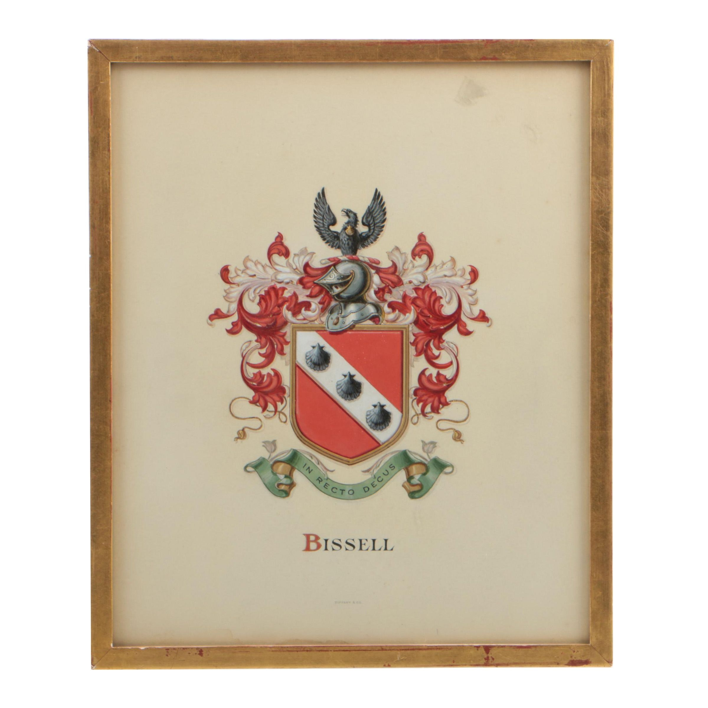 Watercolor Painting on Paper of Bissell Family Coat-of Arms
