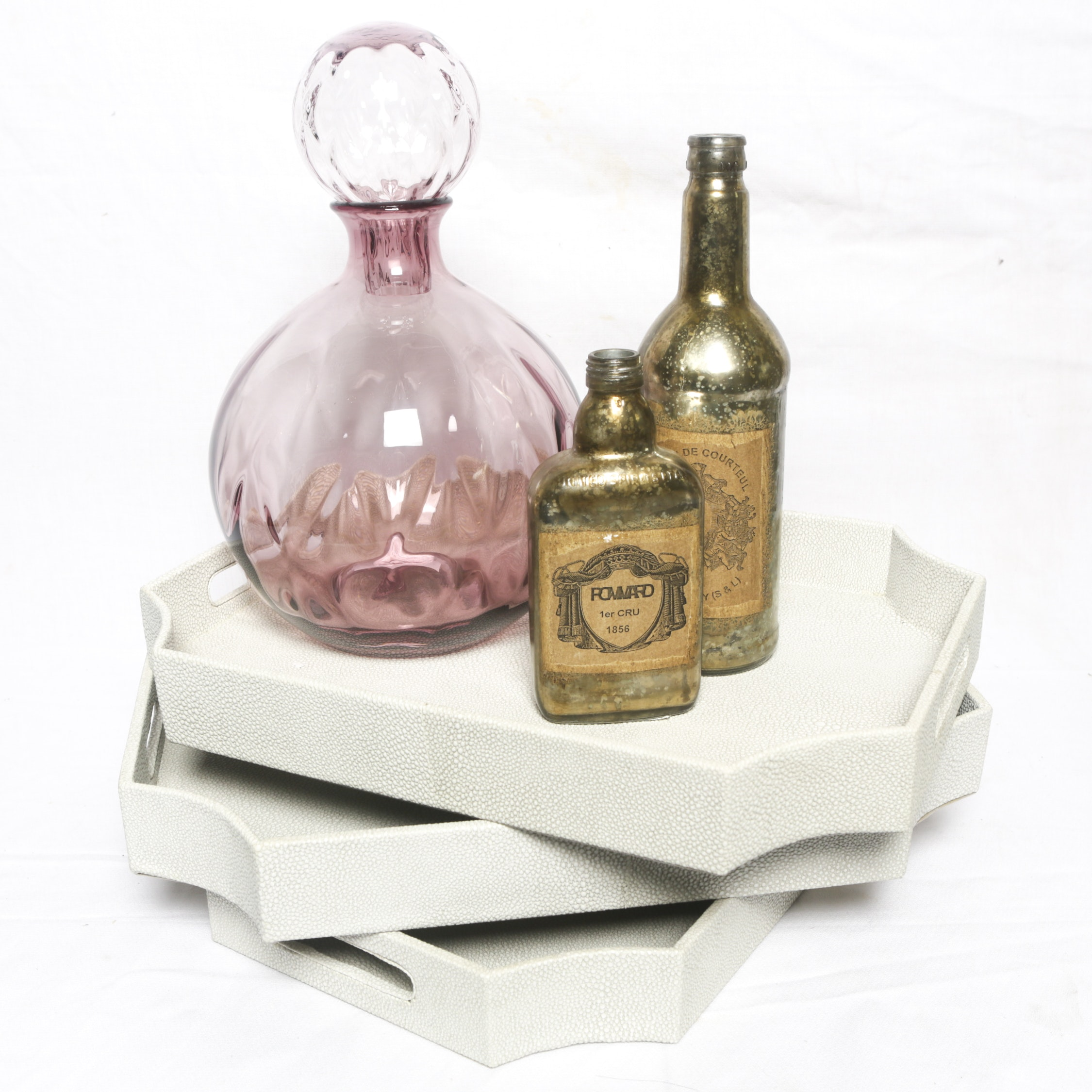 Purple Glass Lidded Jar with Apothecary Style Bottles and Trays