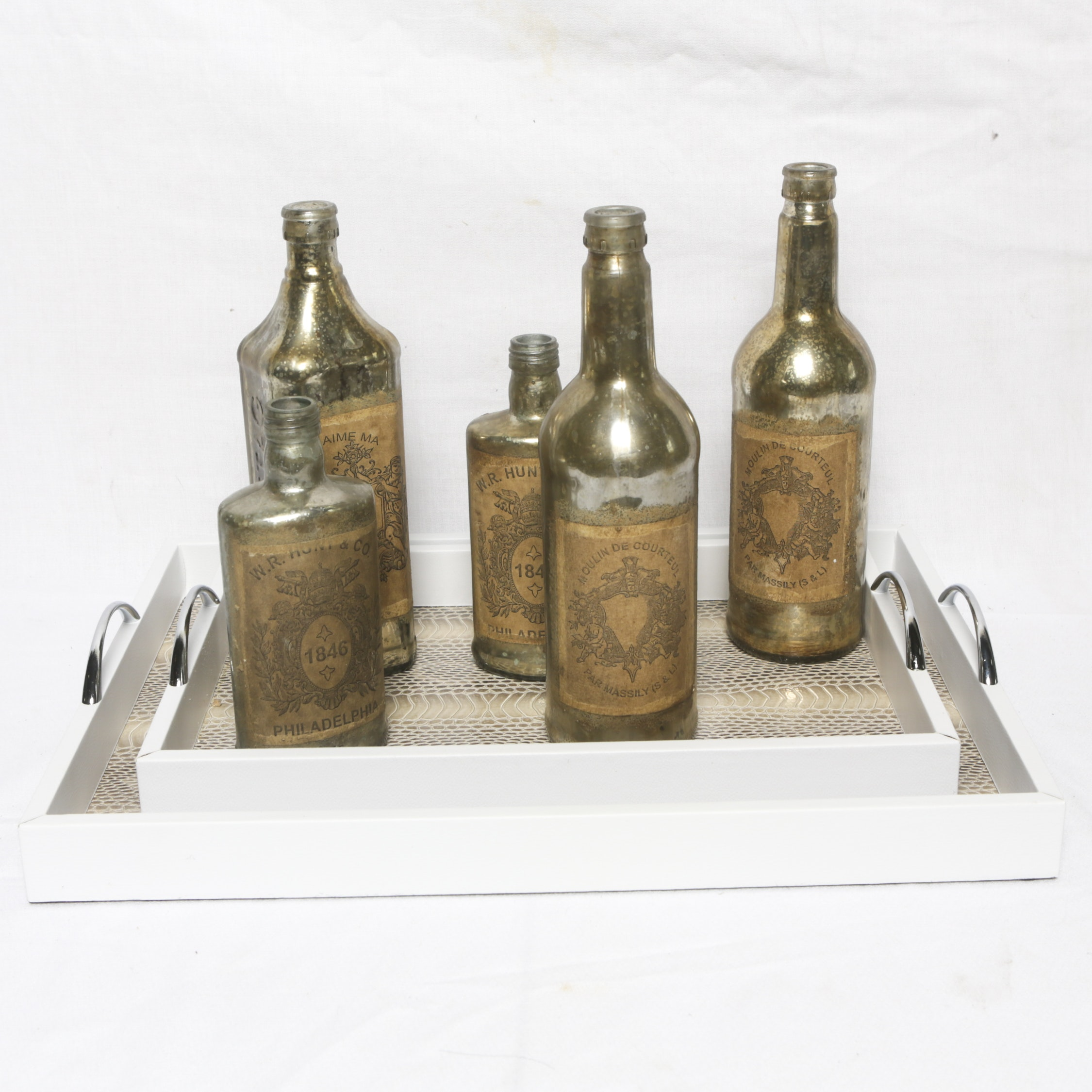 Apothecary Style Glass Bottles with White Nesting Trays