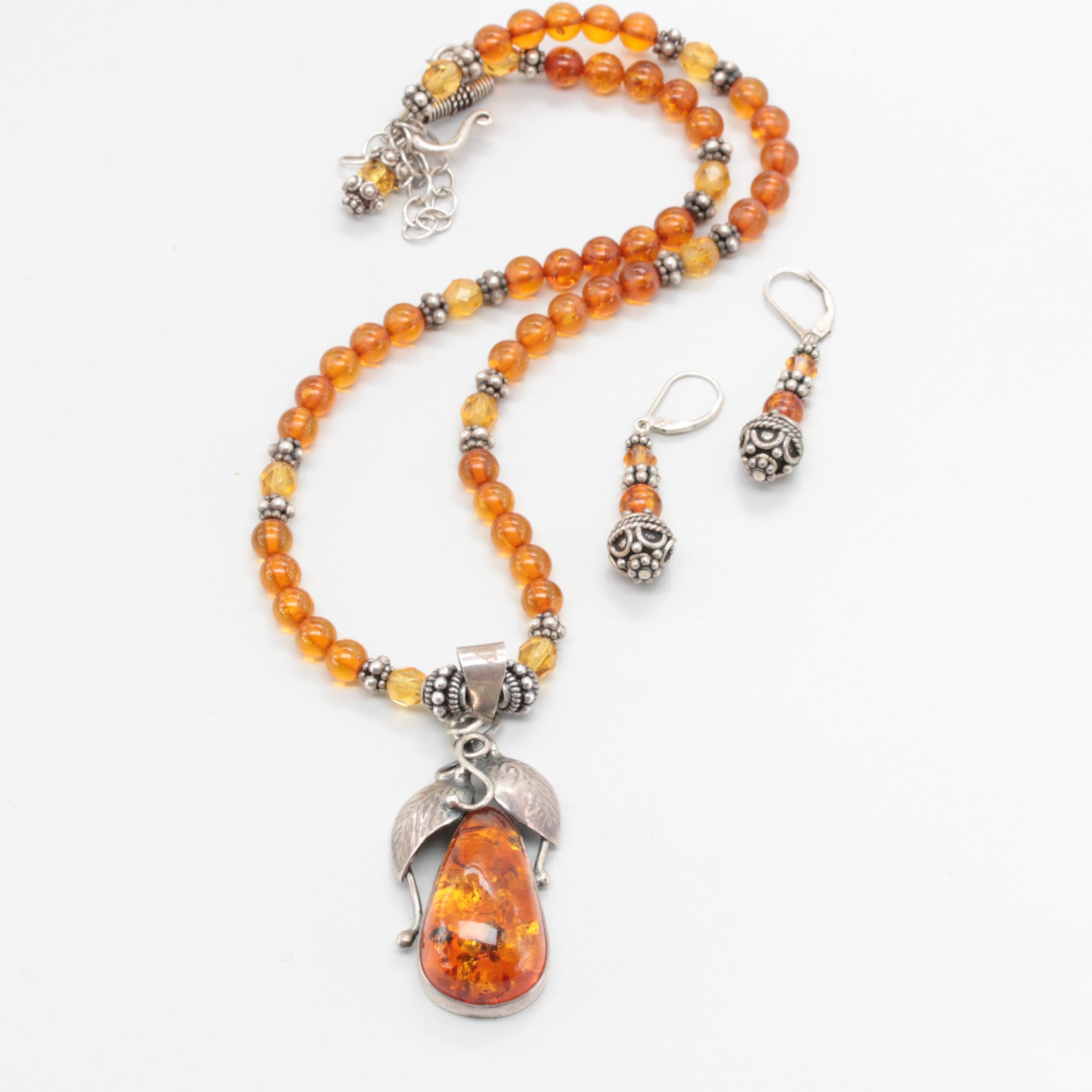 Sterling Silver Amber and Glass Necklace and Earrings