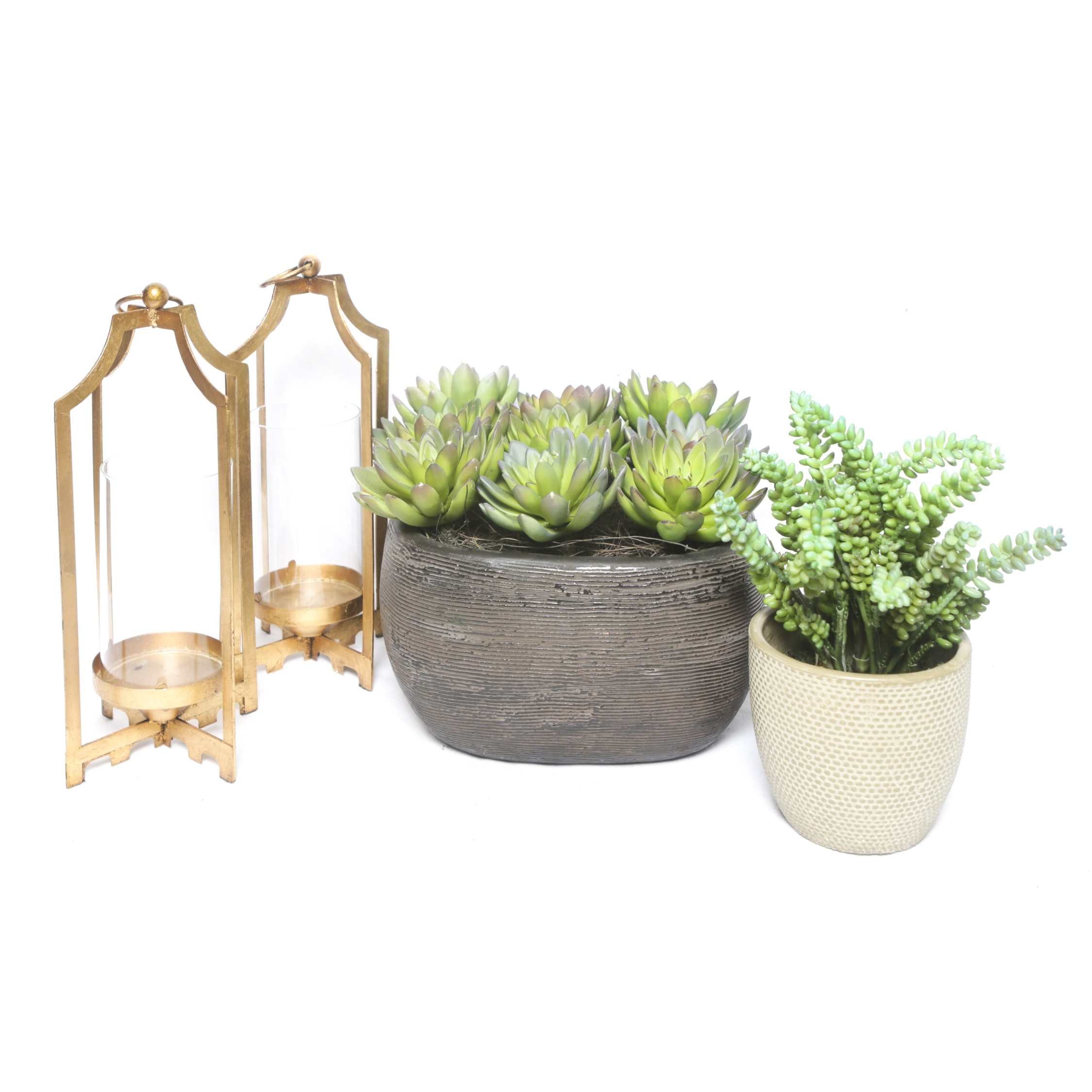 Gold Tone Candle Lanterns and Faux Succulents in Planters