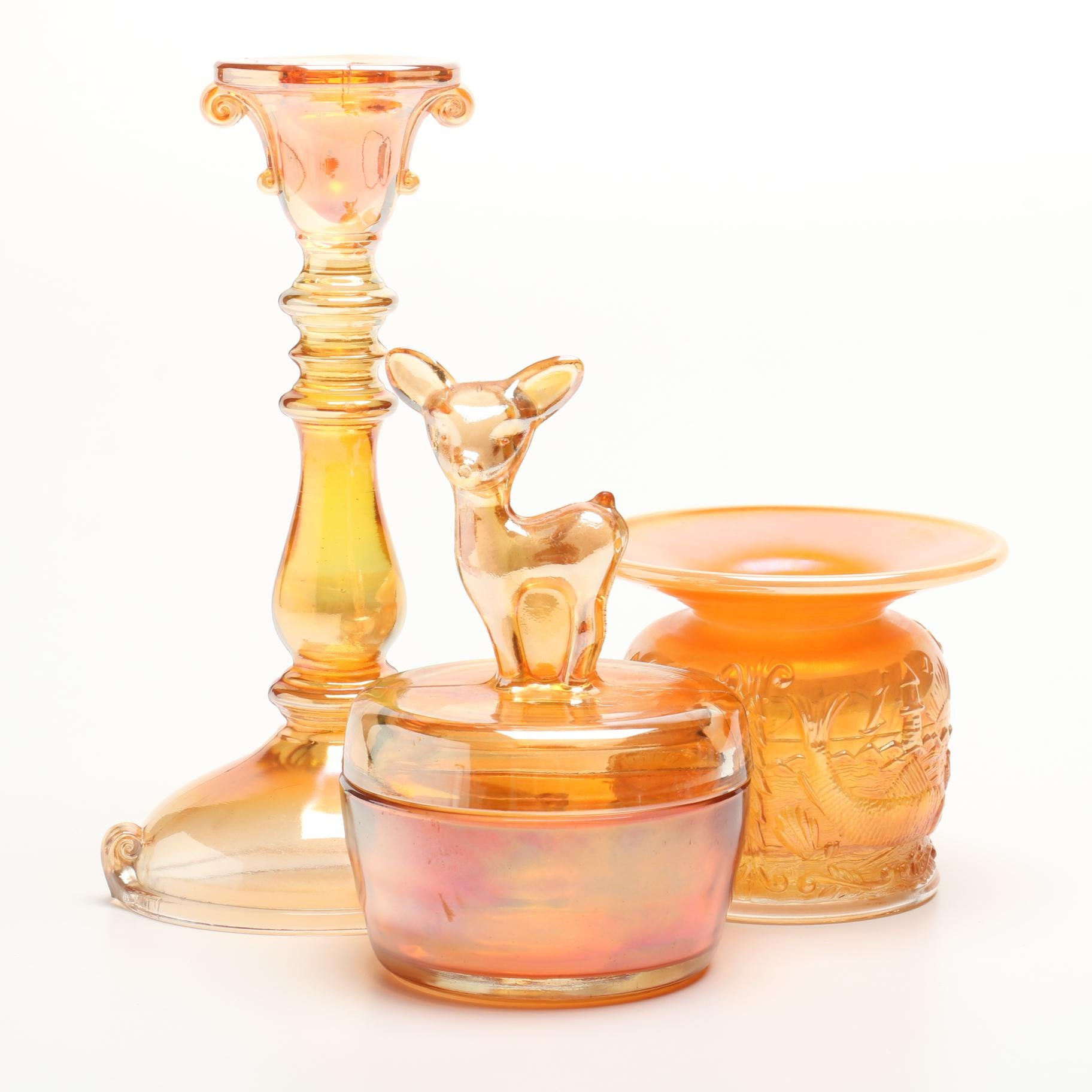 Vintage Iridized Carnival Glass Fawn Jar, Candlestick and Spittoon