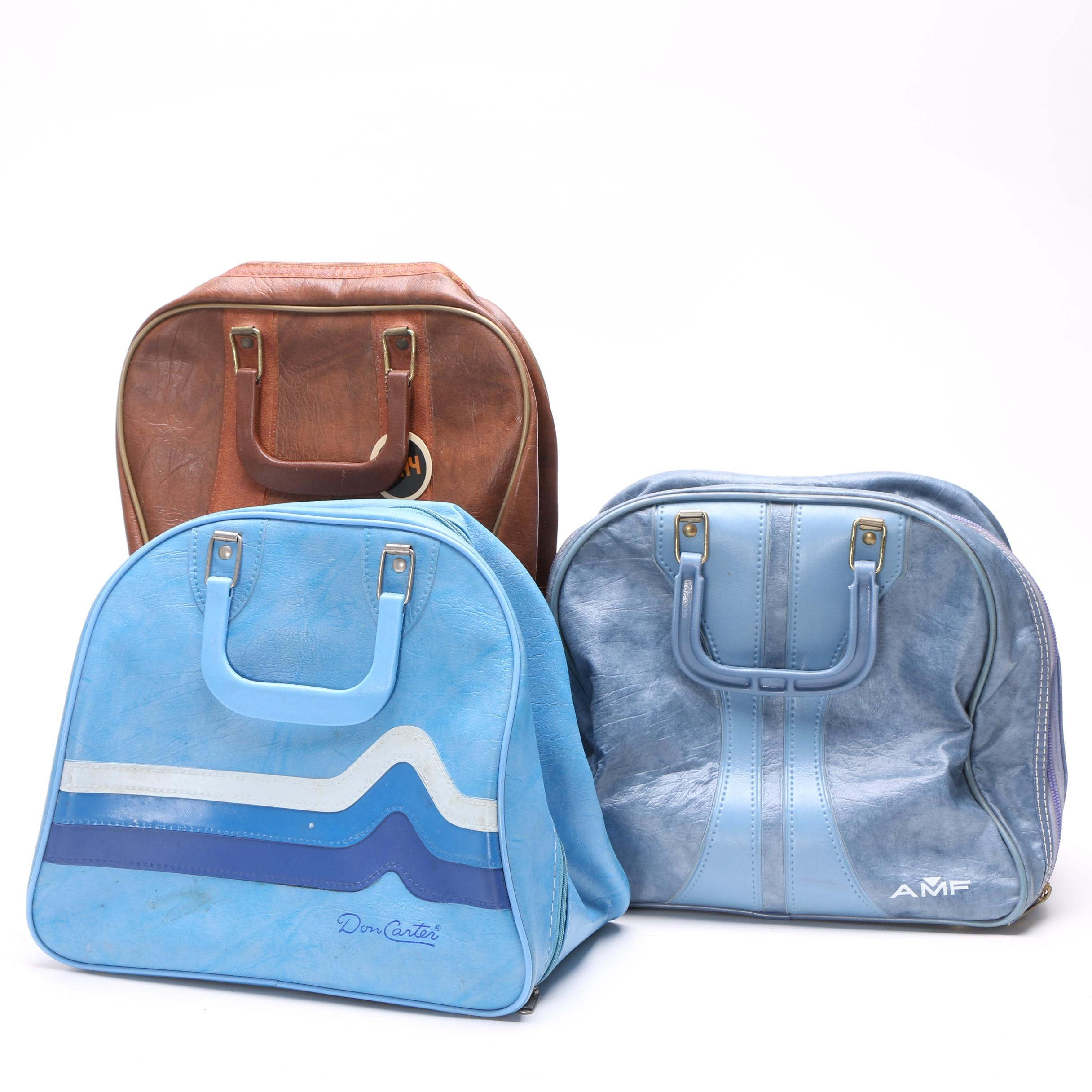 Vintage AMF, Ajay and Don Carter Faux Leather Bowling Ball Bags