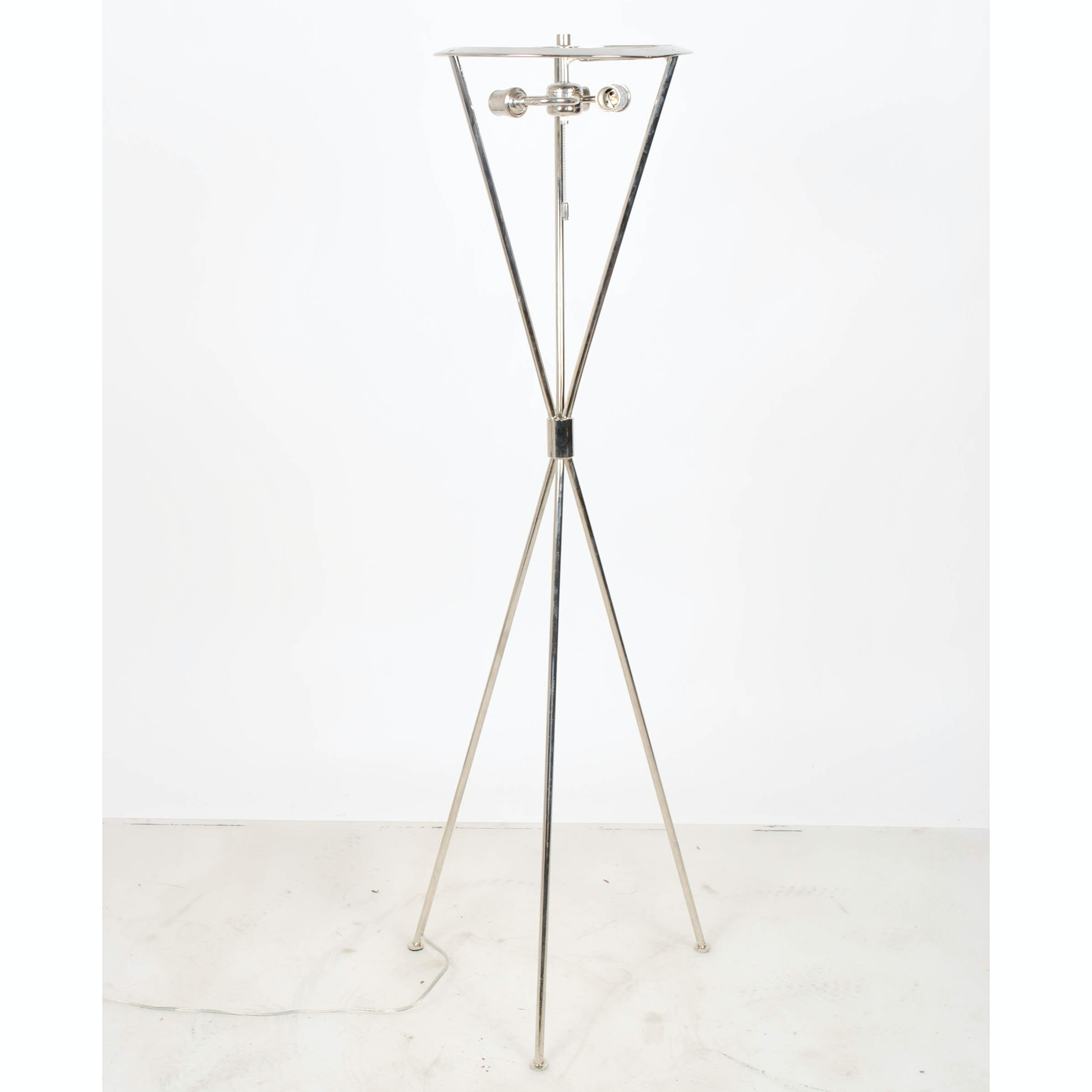 Contemporary Chrome Tripod Floor Lamp