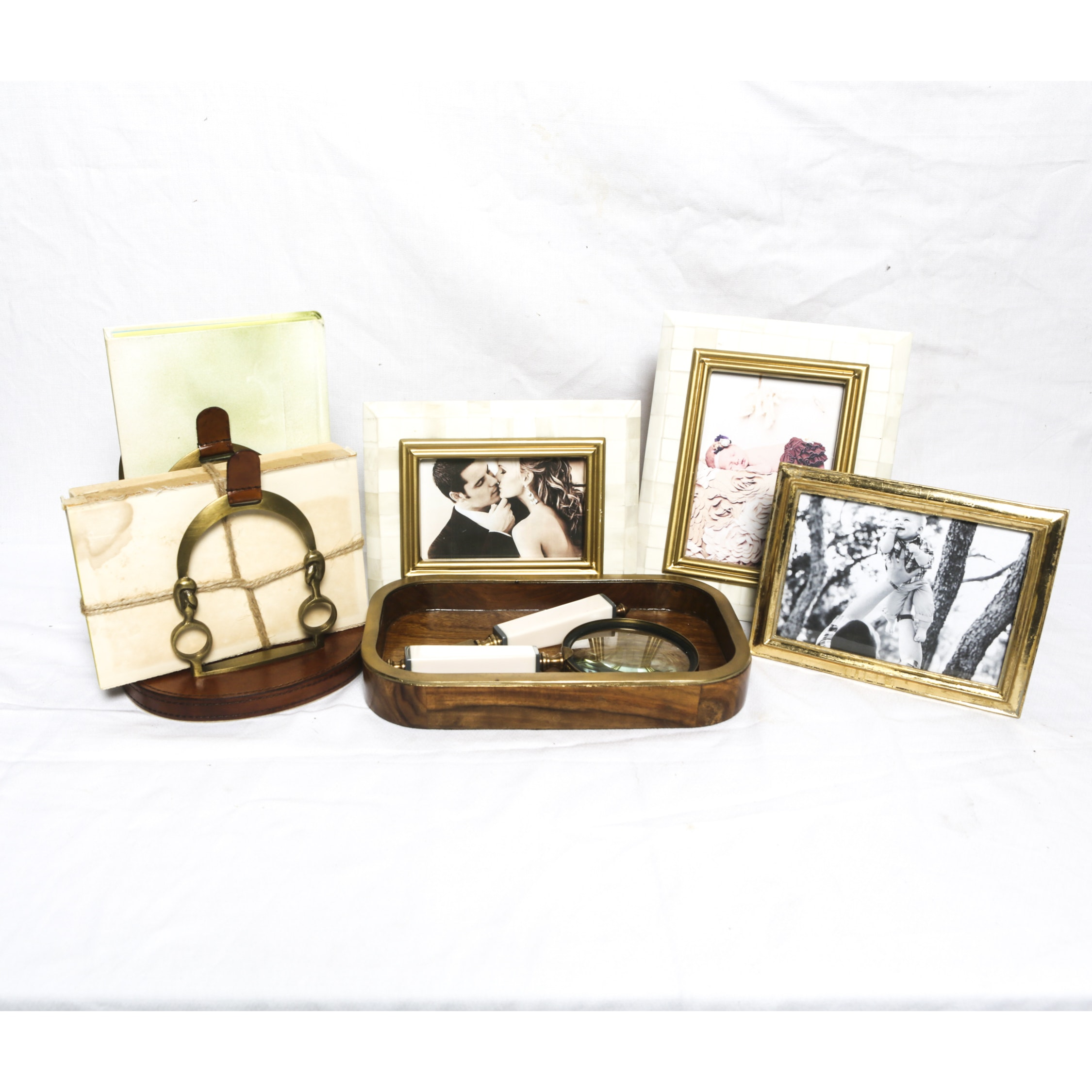 Equestrian Motif Letter Holder with Metallic Picture Frames and Wooden Tray