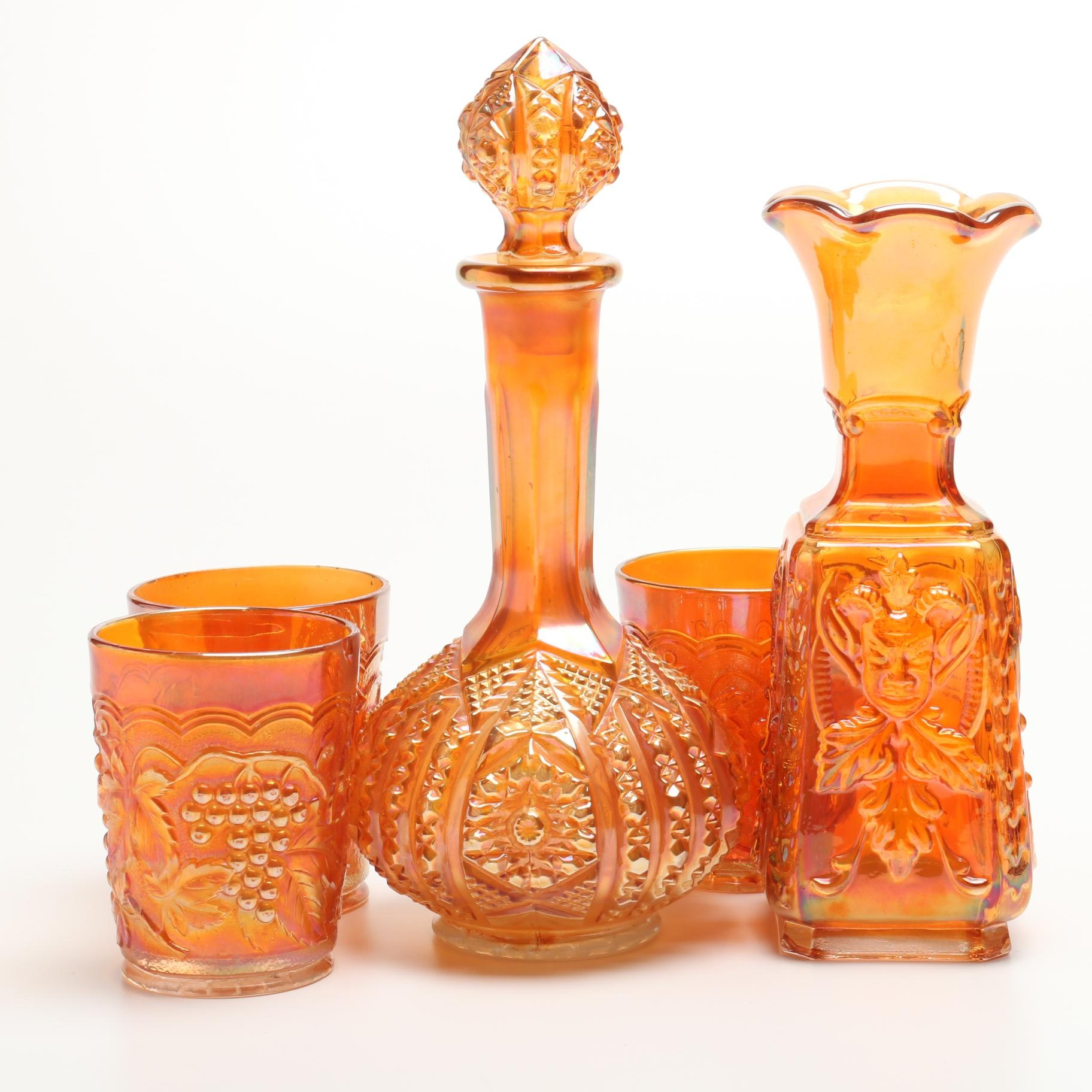 Vintage Imperial Glass Carnival Decanter, Vase and Tumblers