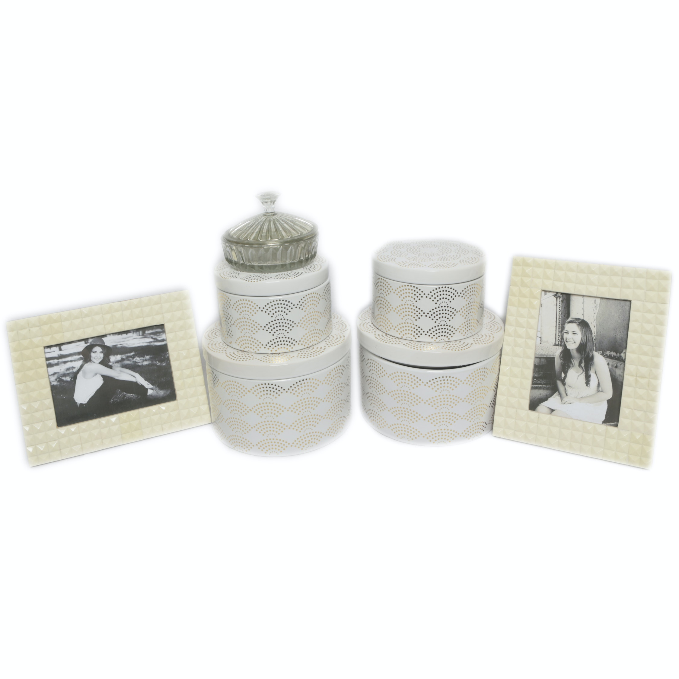 Metal Storage Boxes with Textured Picture Frames and Glass Trinket Box