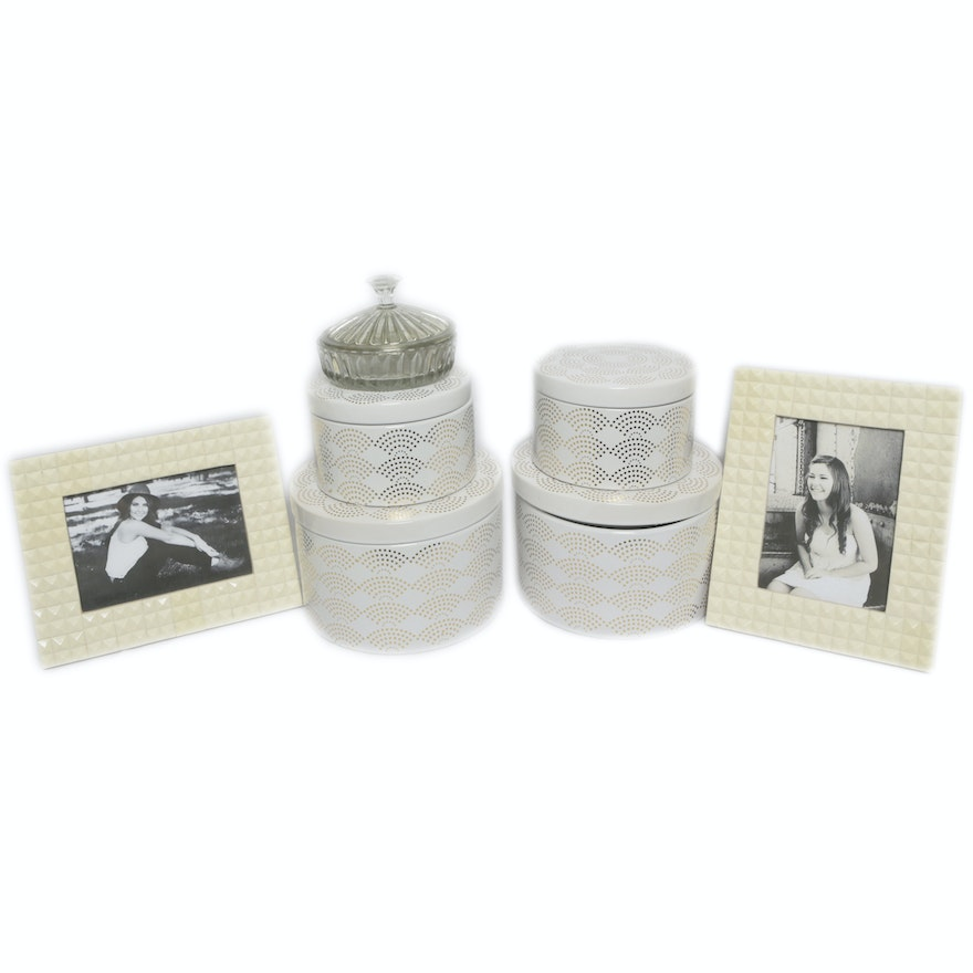 Metal Storage Boxes with Textured Picture Frames and Glass Trinket ...