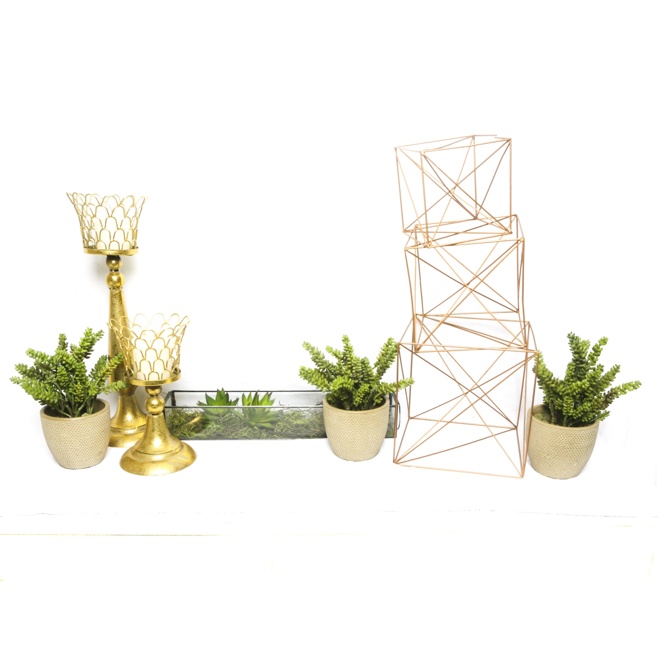Artificial Succulents in Planters and Gold Tone Metal Candleholders
